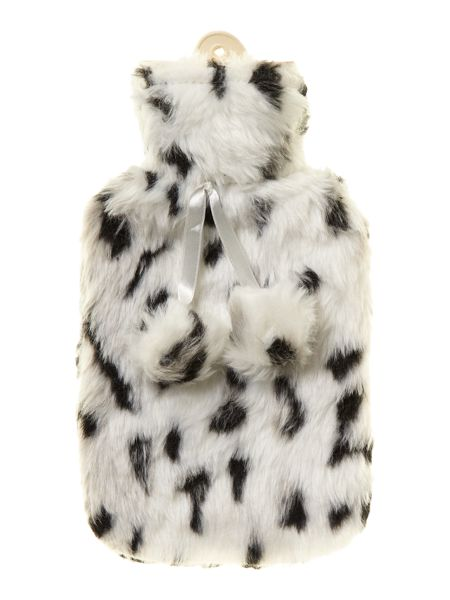 Linea Black and white faux fur hot water bottle