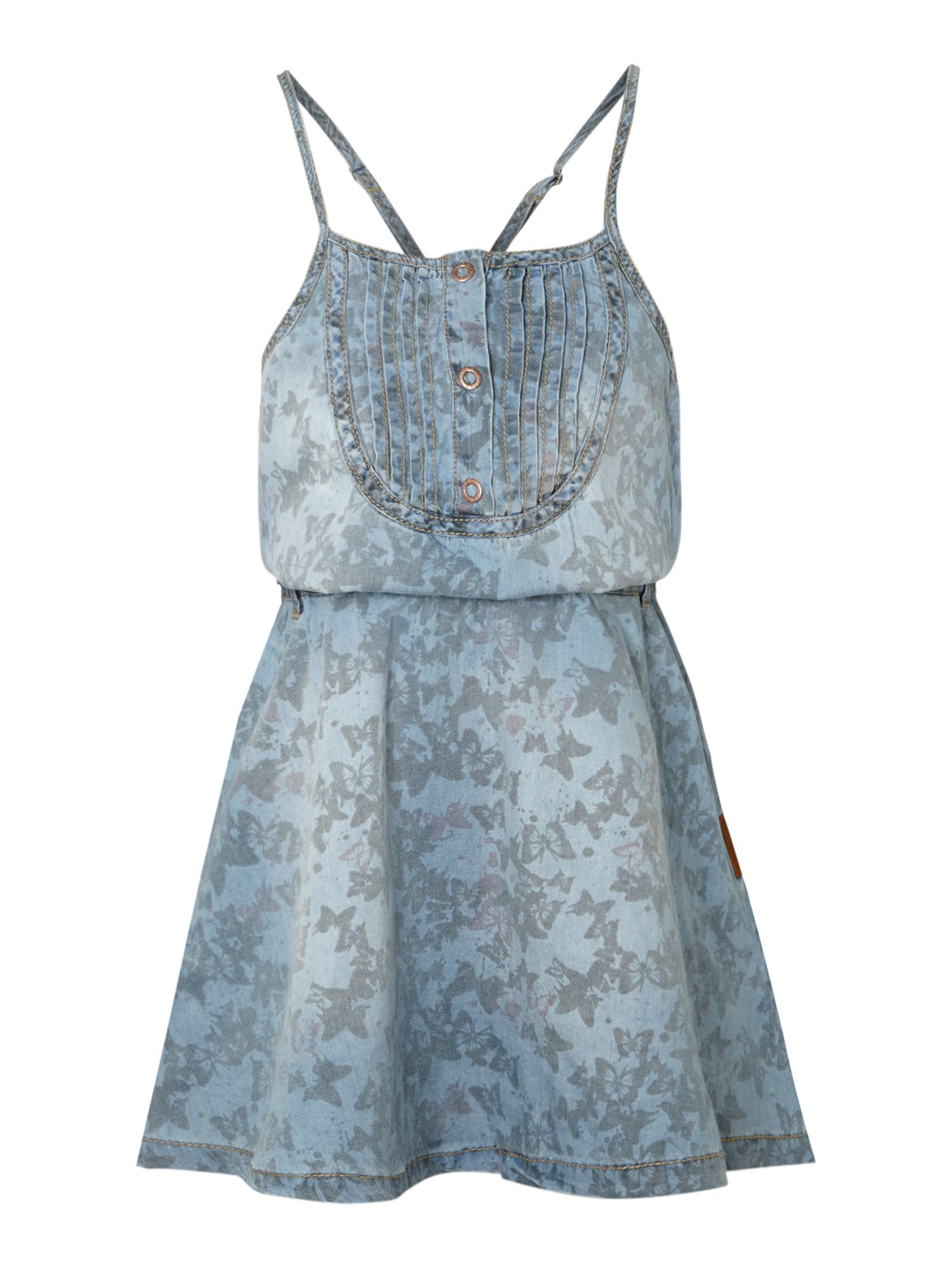 Girl`s butterfly print denim dress