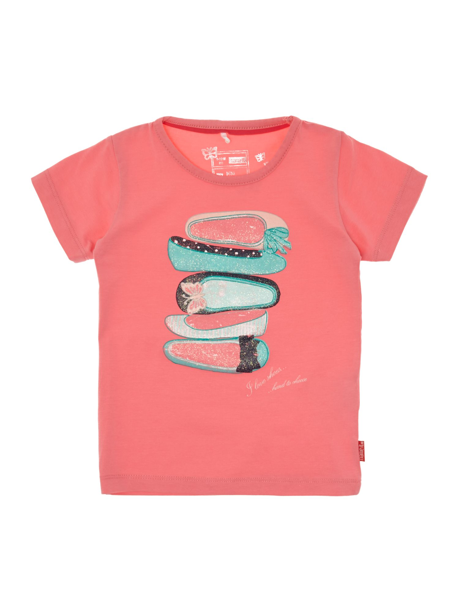 Girl`s short-sleeved shoe graphic T-shirt