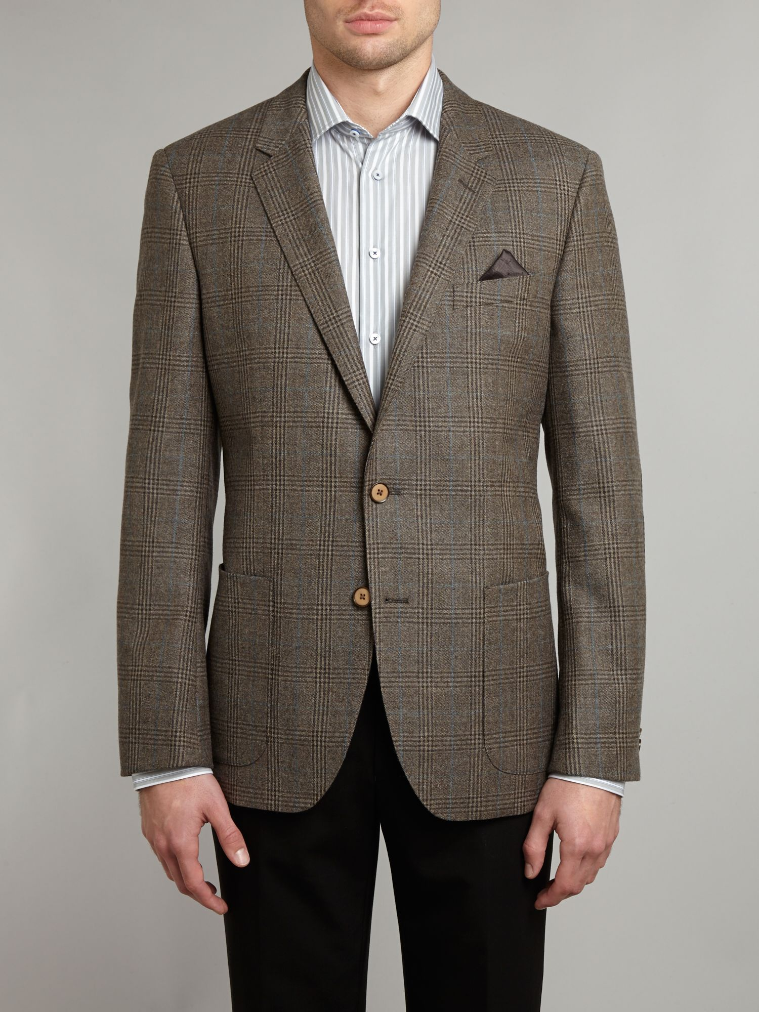 Wool multi check blazer