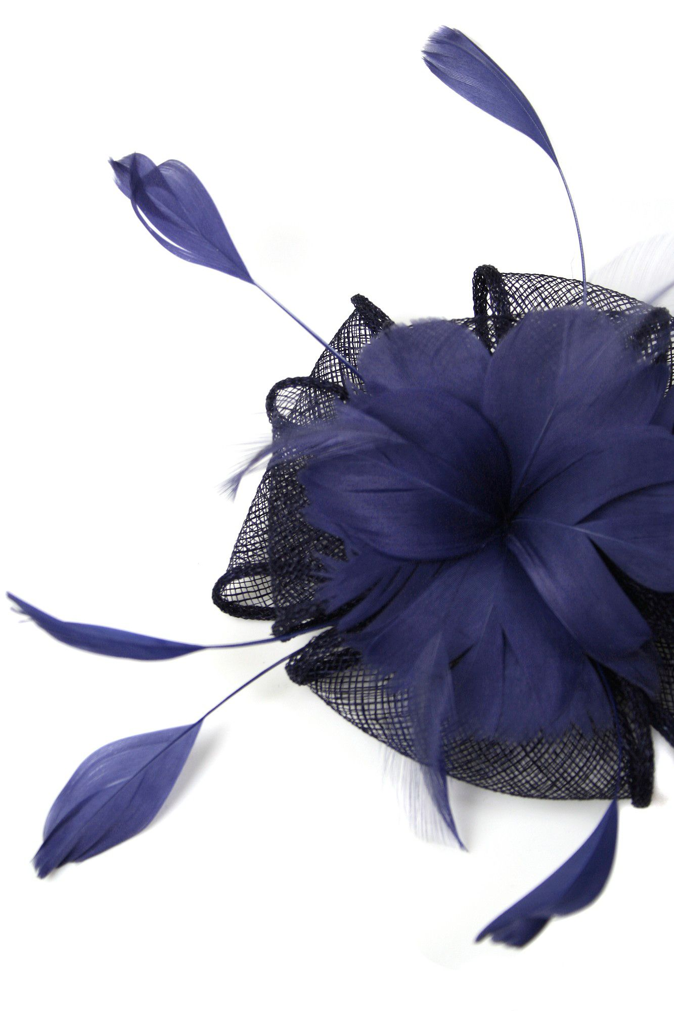 Contrast bow and feather fascinator clip