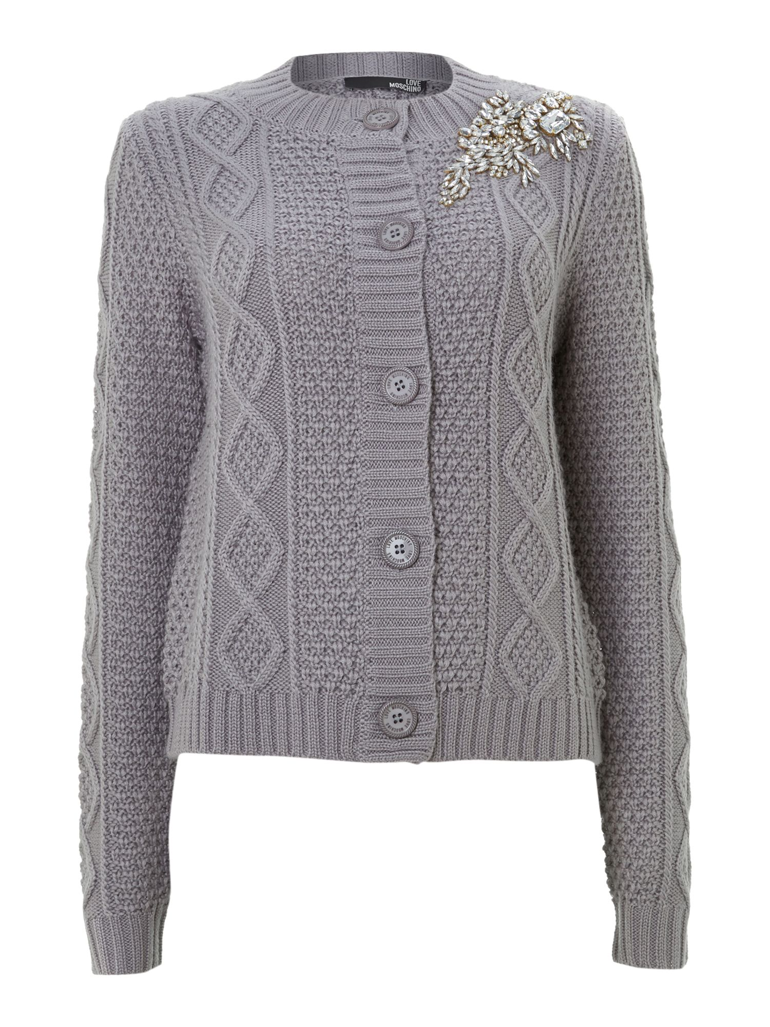 Cable knit button cardigan with embellishment