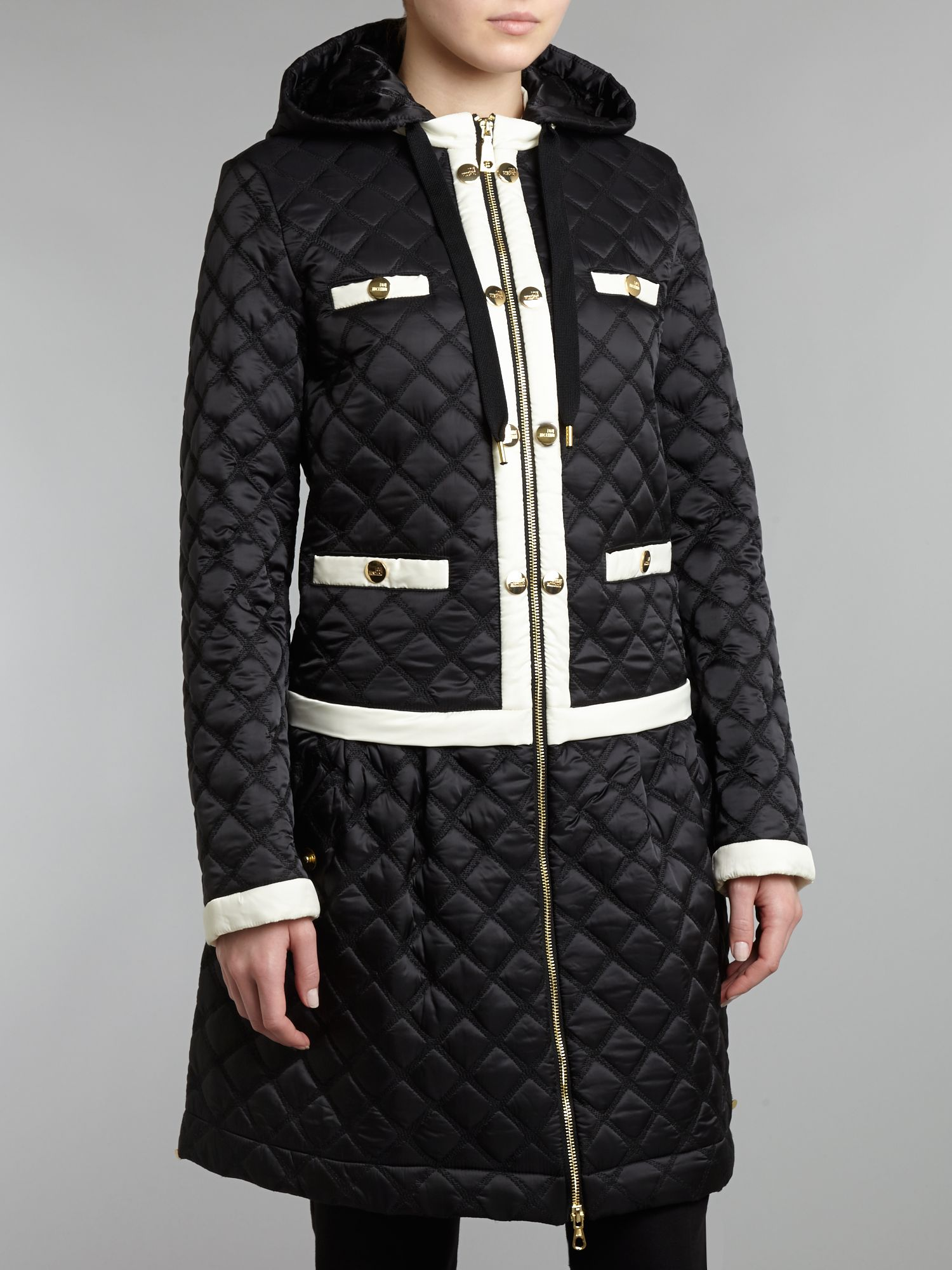Long hooded quilted jacket with contrast trim
