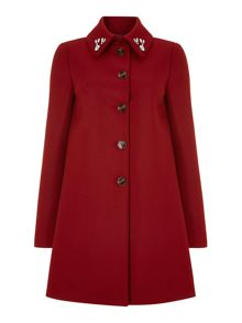 Button front peacoat with embellished collar