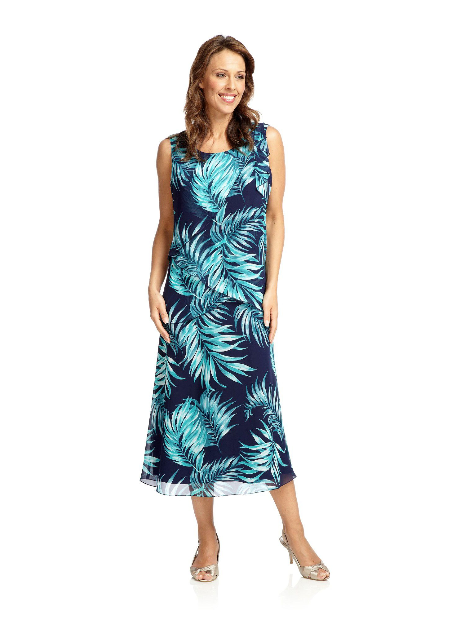 Fern print chiffon dress