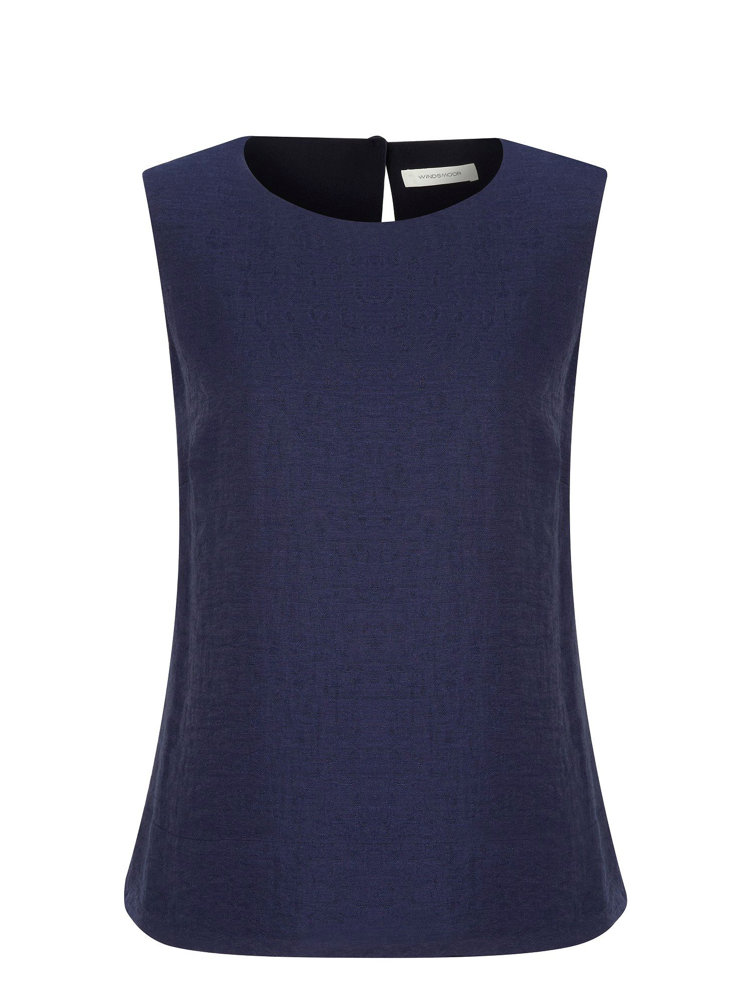 Navy jacquard shell top