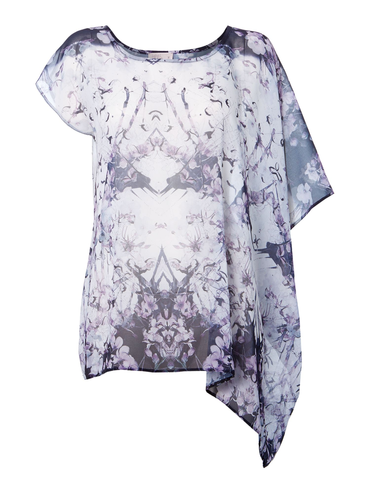 Iris digital print asymmetric top