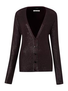 Oui Long sleeve metallic knitted cardigan