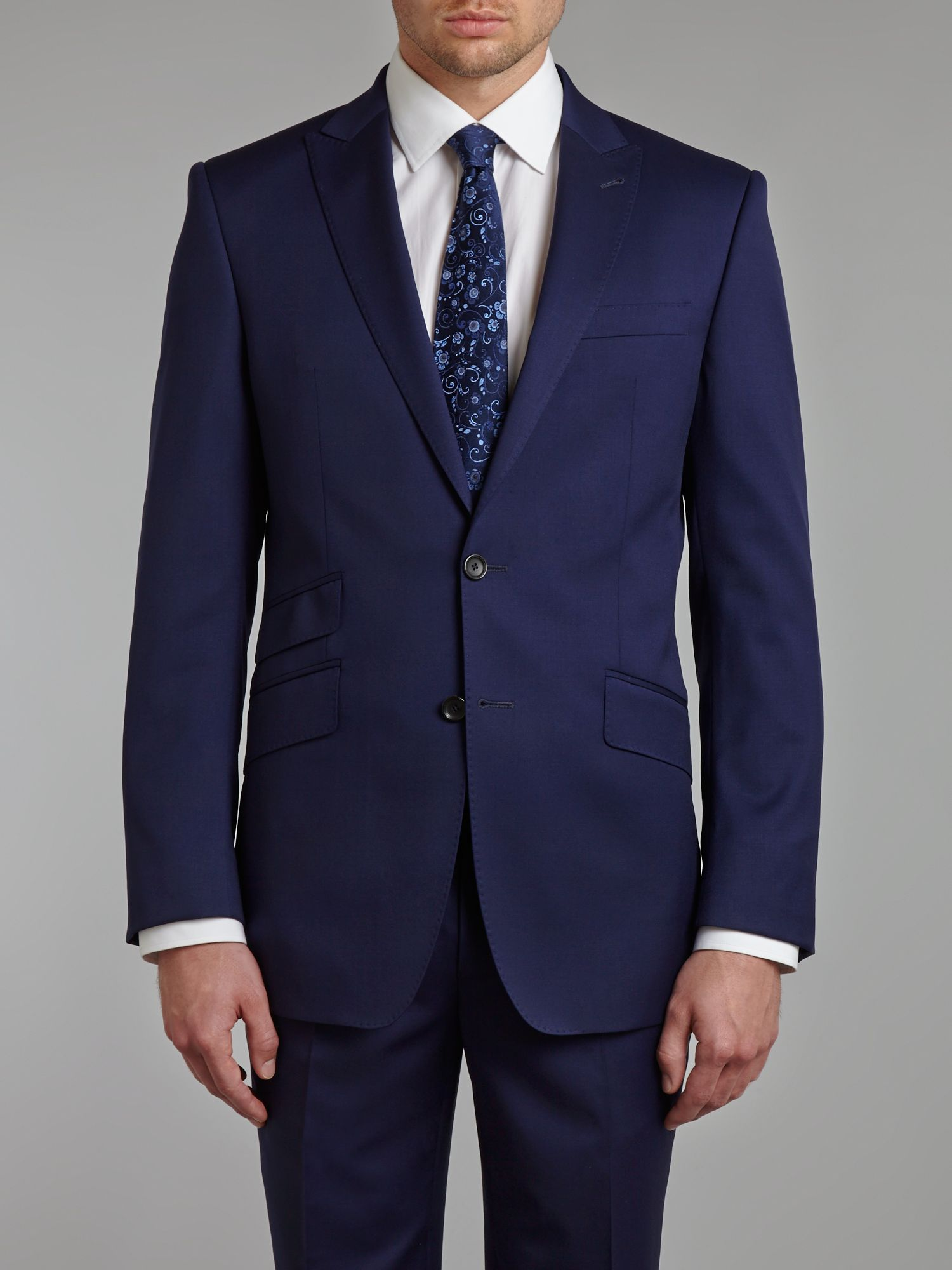 Twill regular fit peak lapel jacket