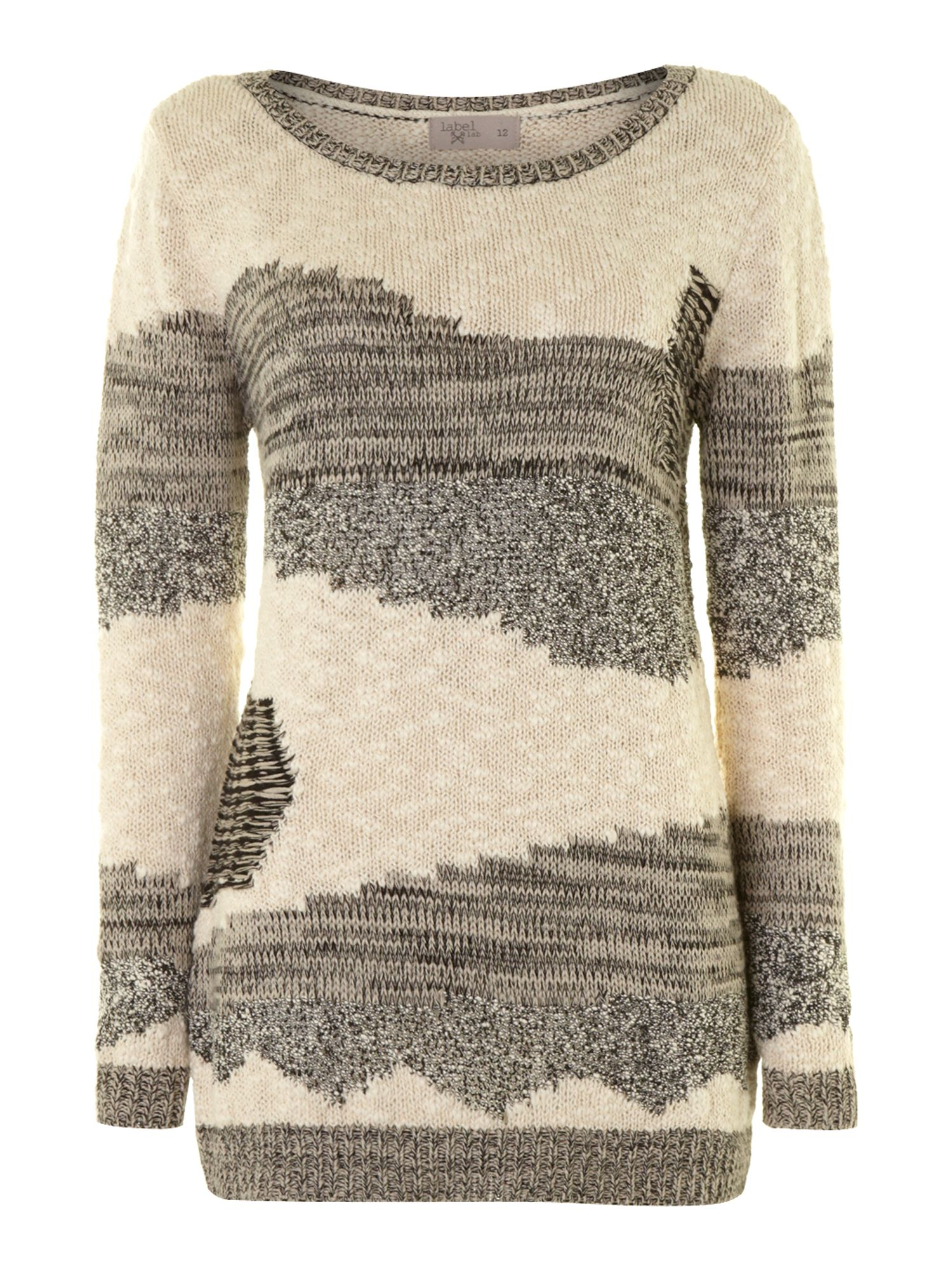 Textured patchwork knit jumper