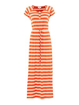 Ladies tonal stripe short sleeve maxi dress