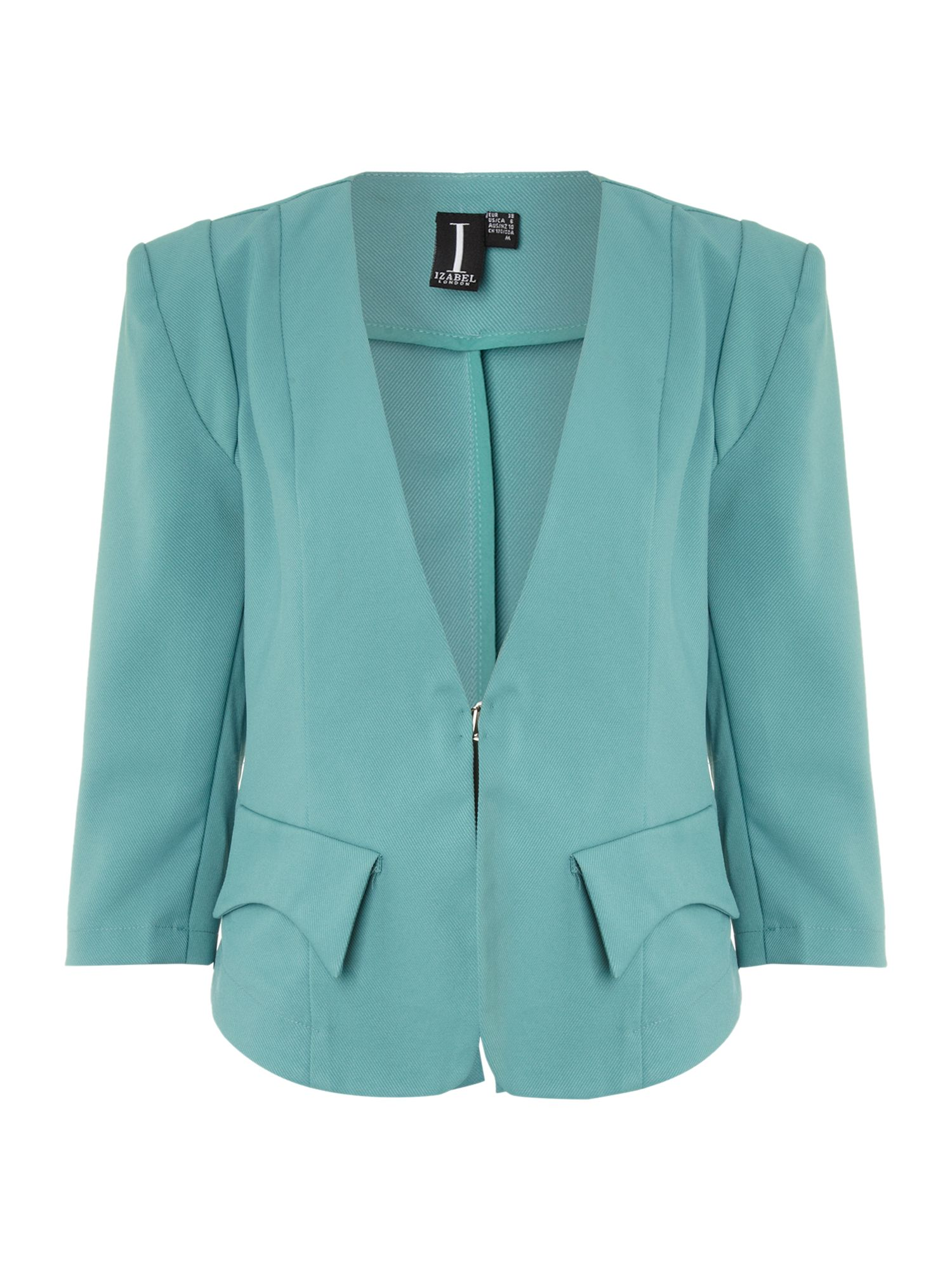 3/4 sleeve collarless jacket