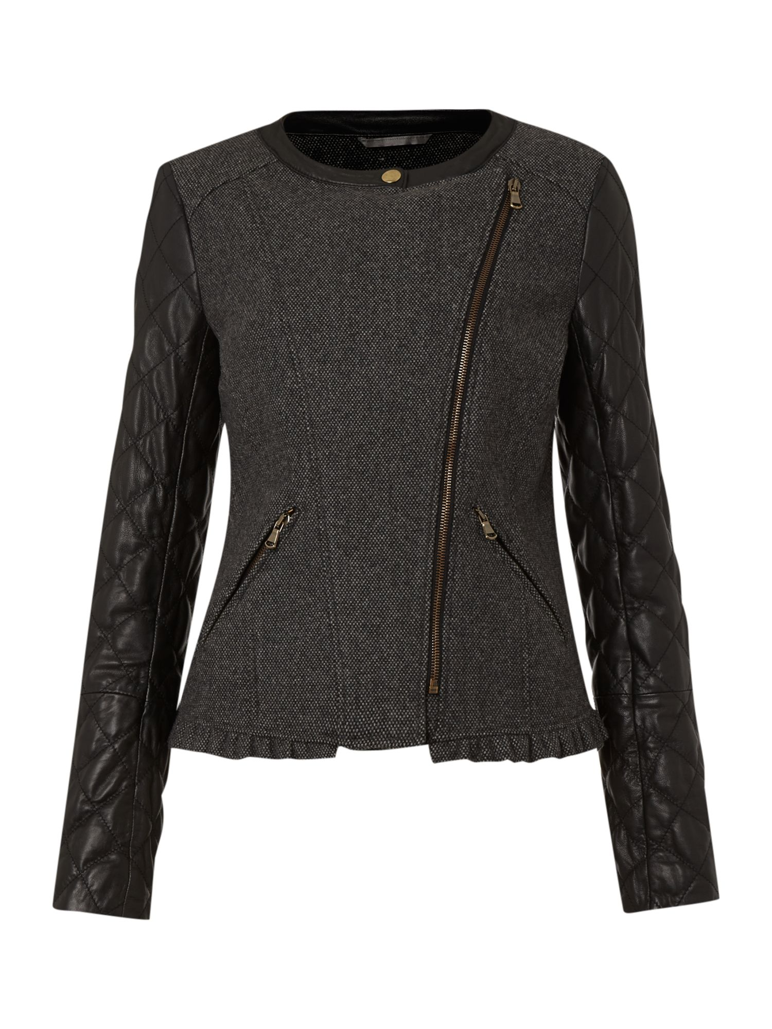 Biker jacket with quilted sleeves