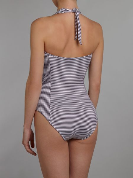 Dickins & Jones Stripe bow front swimsuit