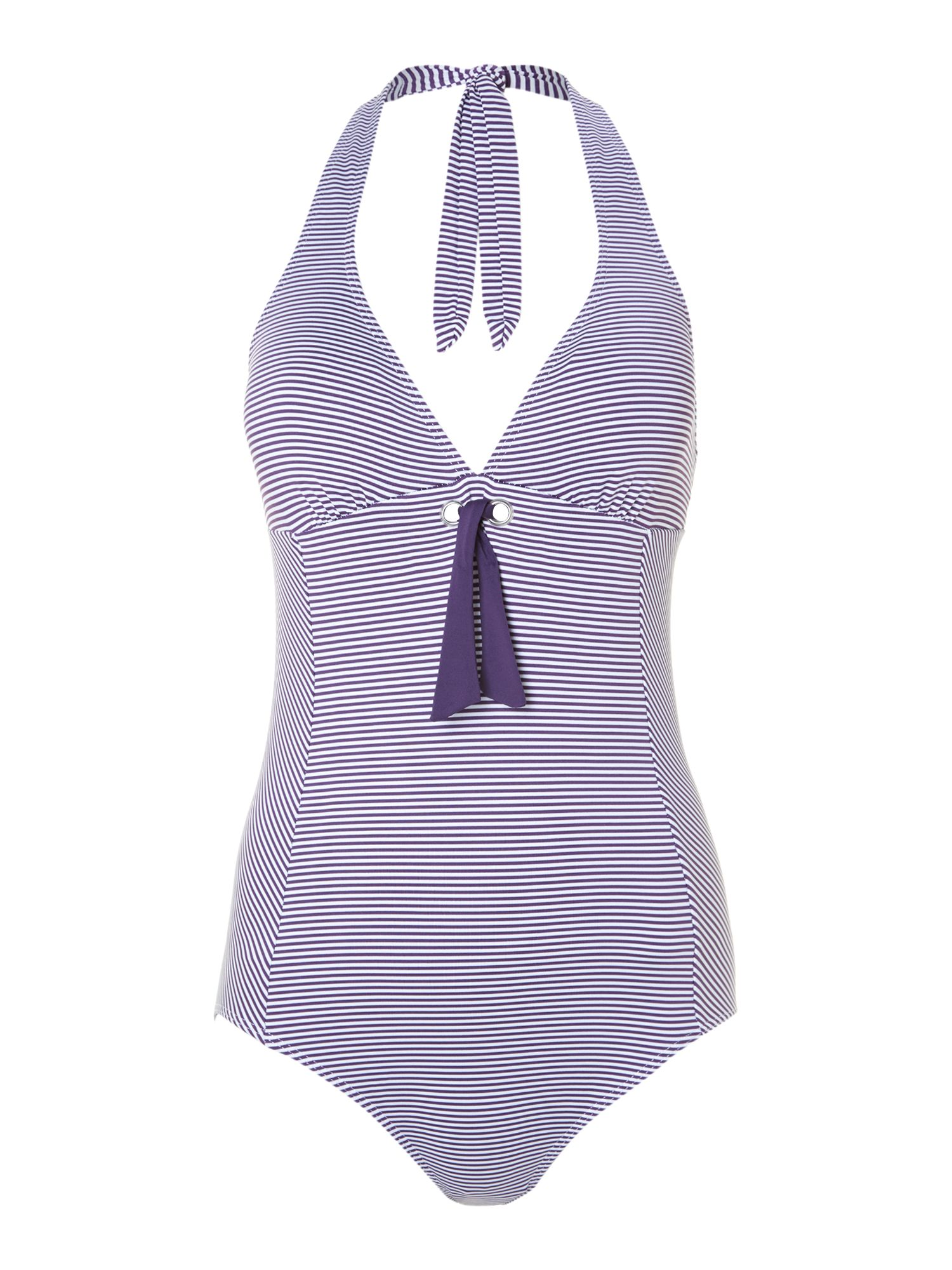 Stripe bow front swimsuit