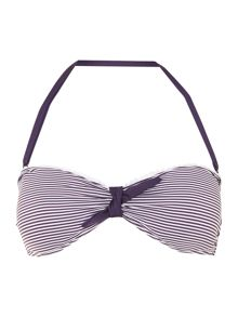 Dickins & Jones Stripe bow front bandeau bikini top