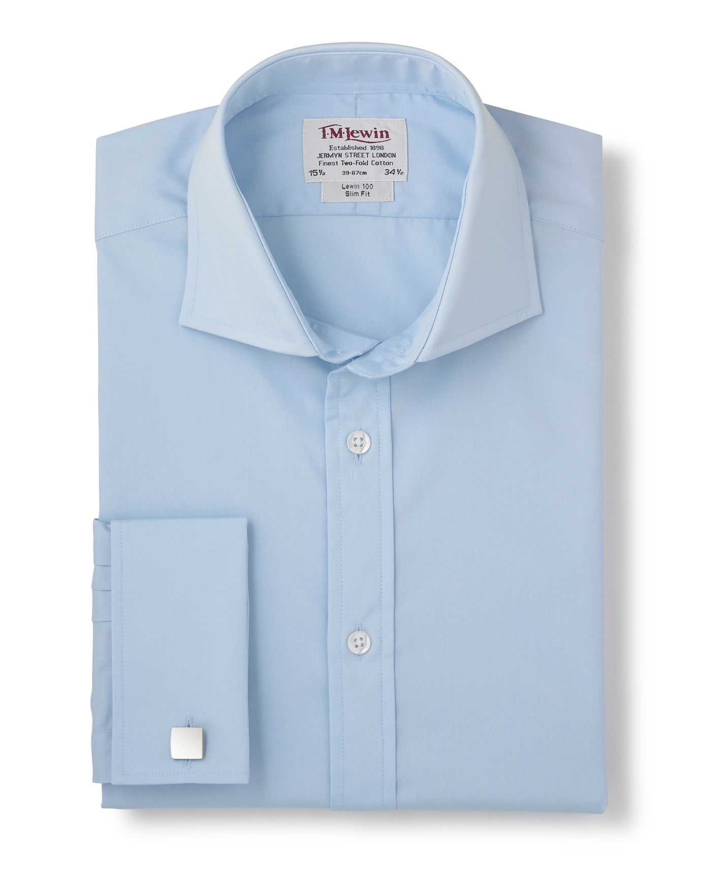 Blue poplin slim fit shirt