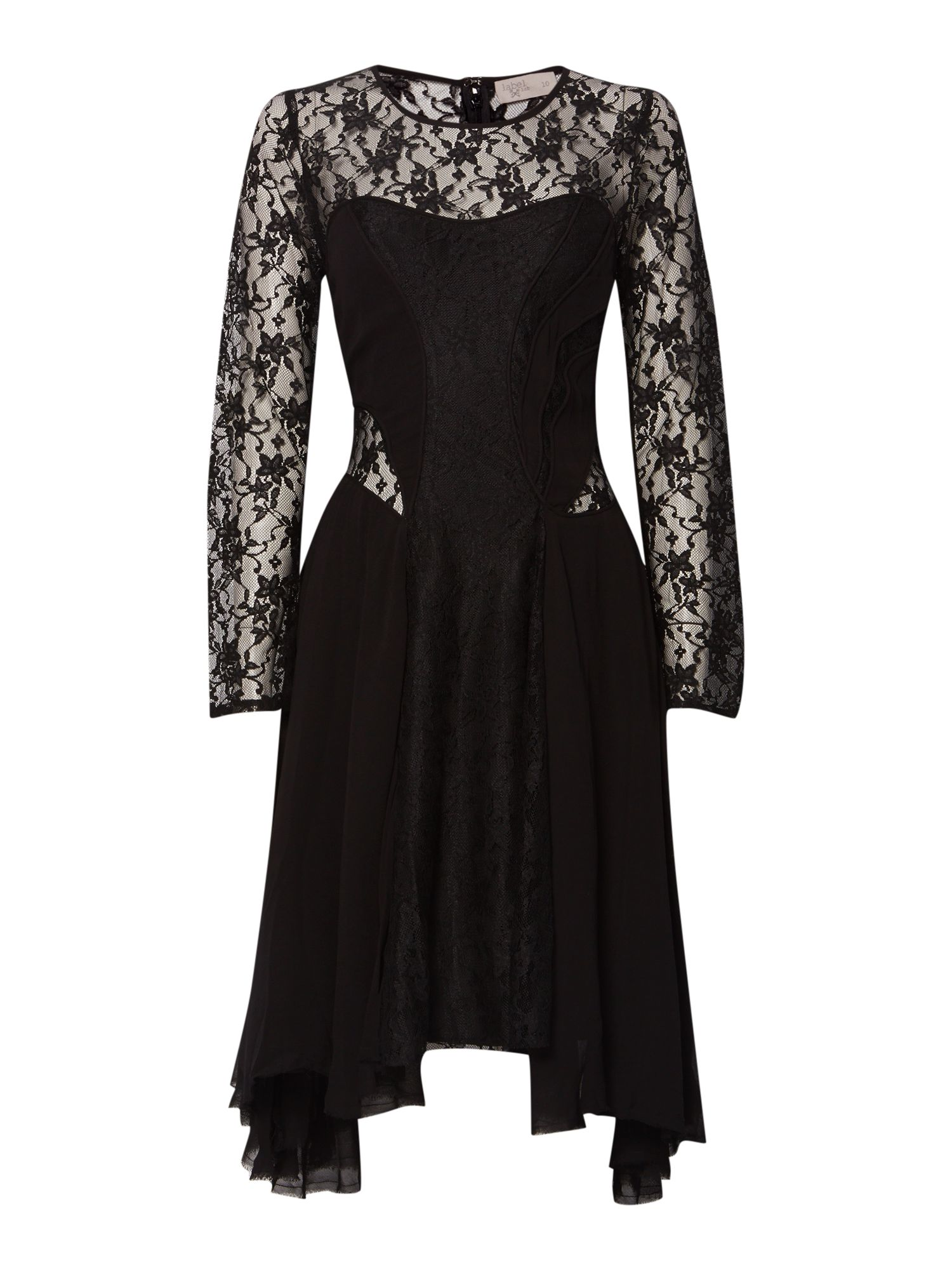 Lace panelled swing dress