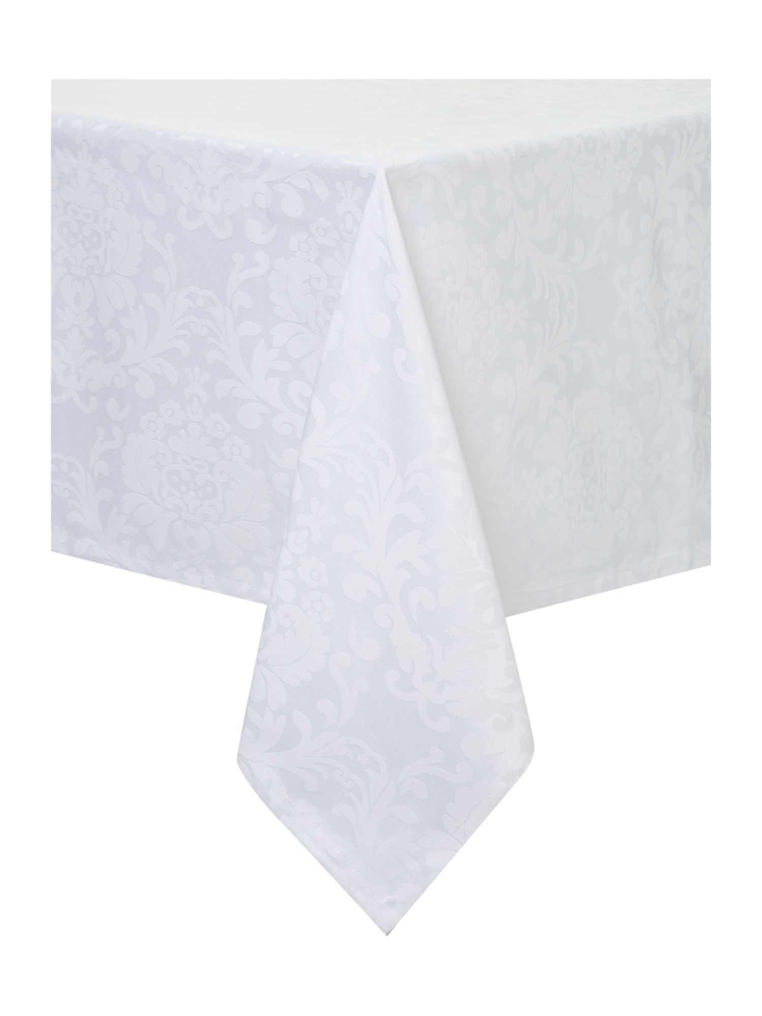 Jacquard damask tablecloth white