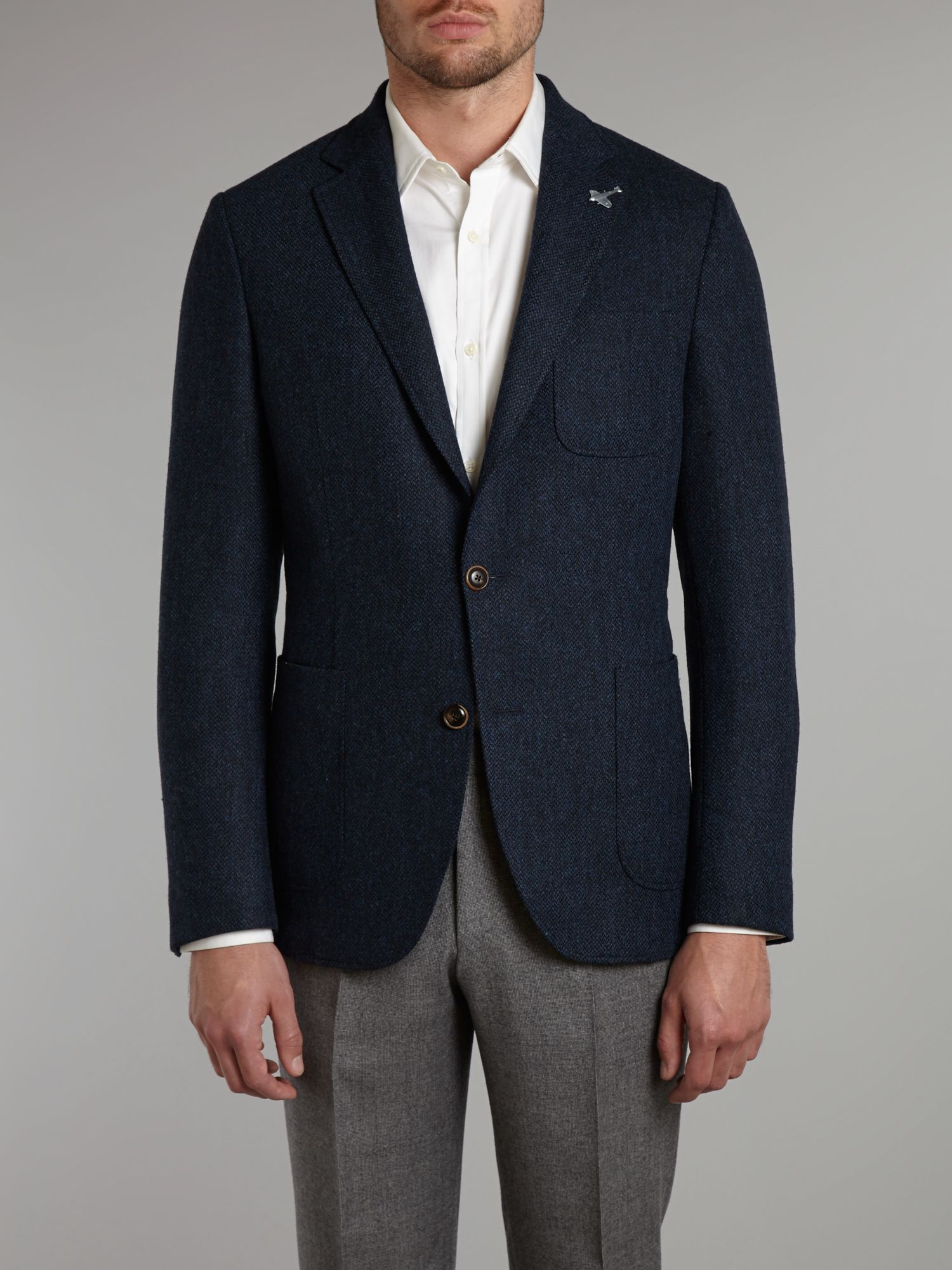 Broken twill patch pocket blazer