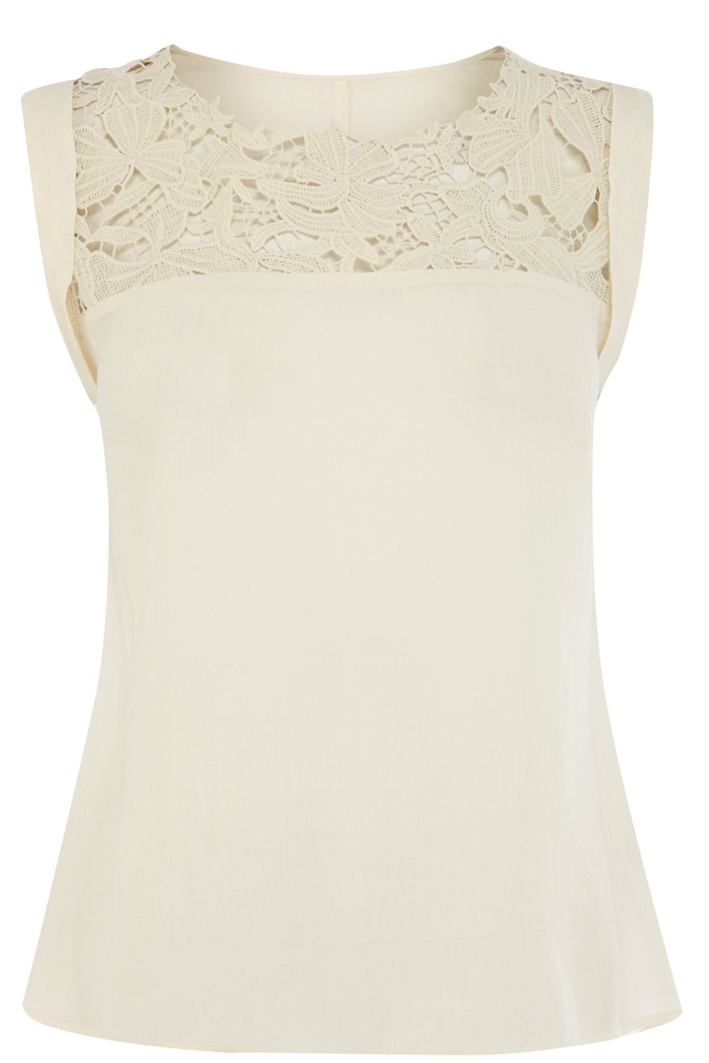 Lace trim viscose shell top