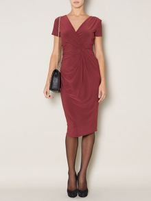 Sally ruch side detail shine jersey dress