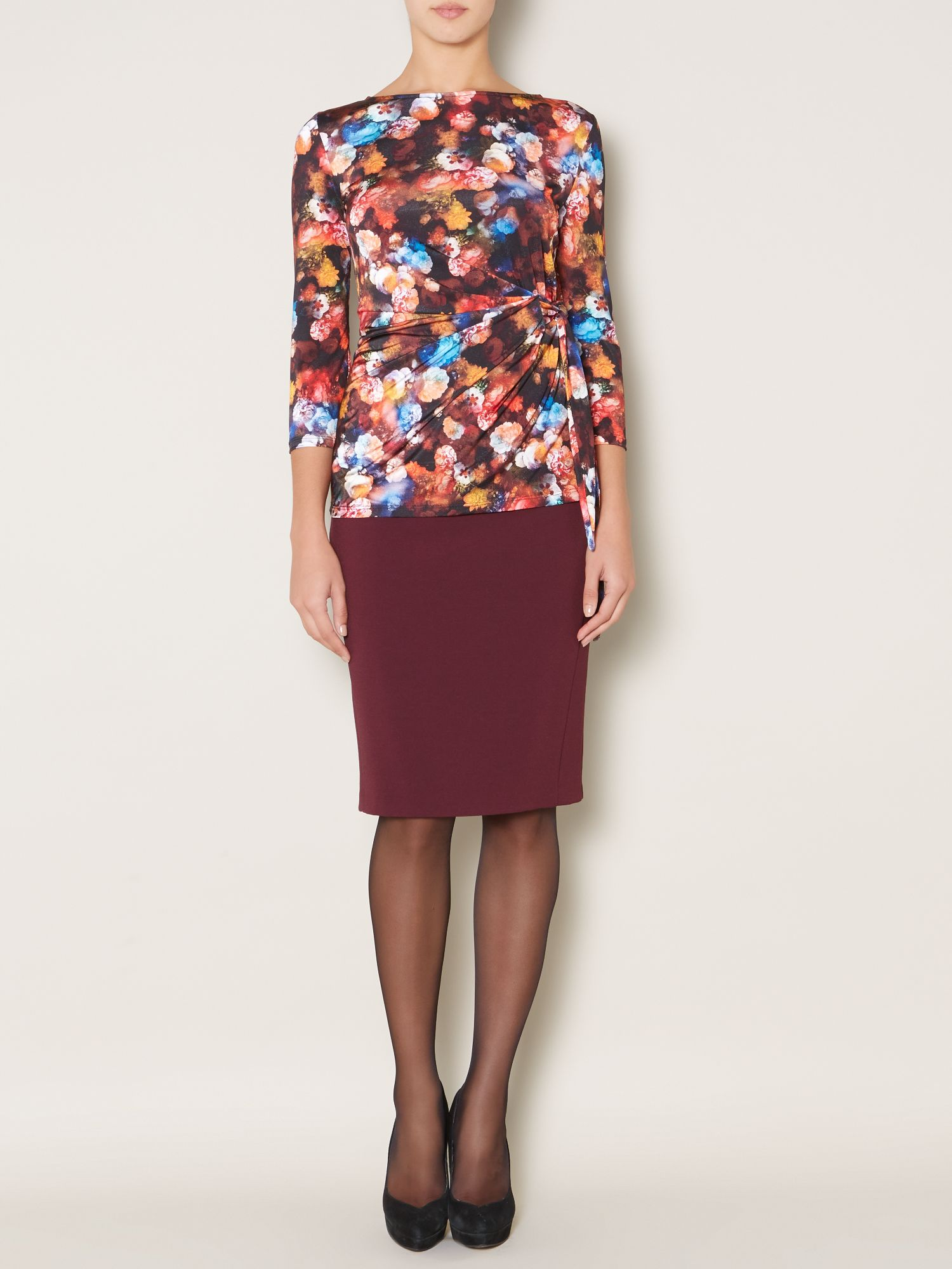 Sally floral side tie jersey top