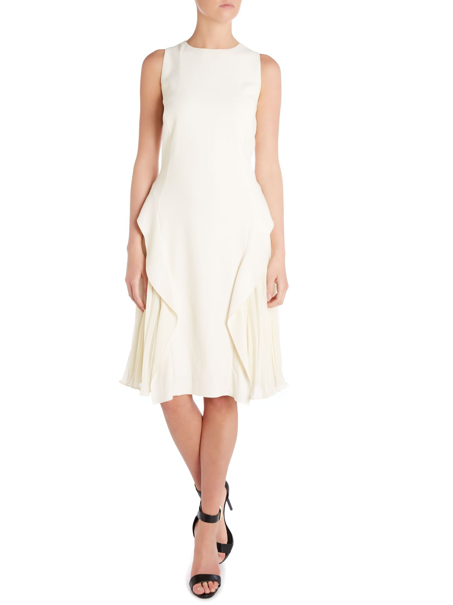 Sleeveless pleat dress with side panels