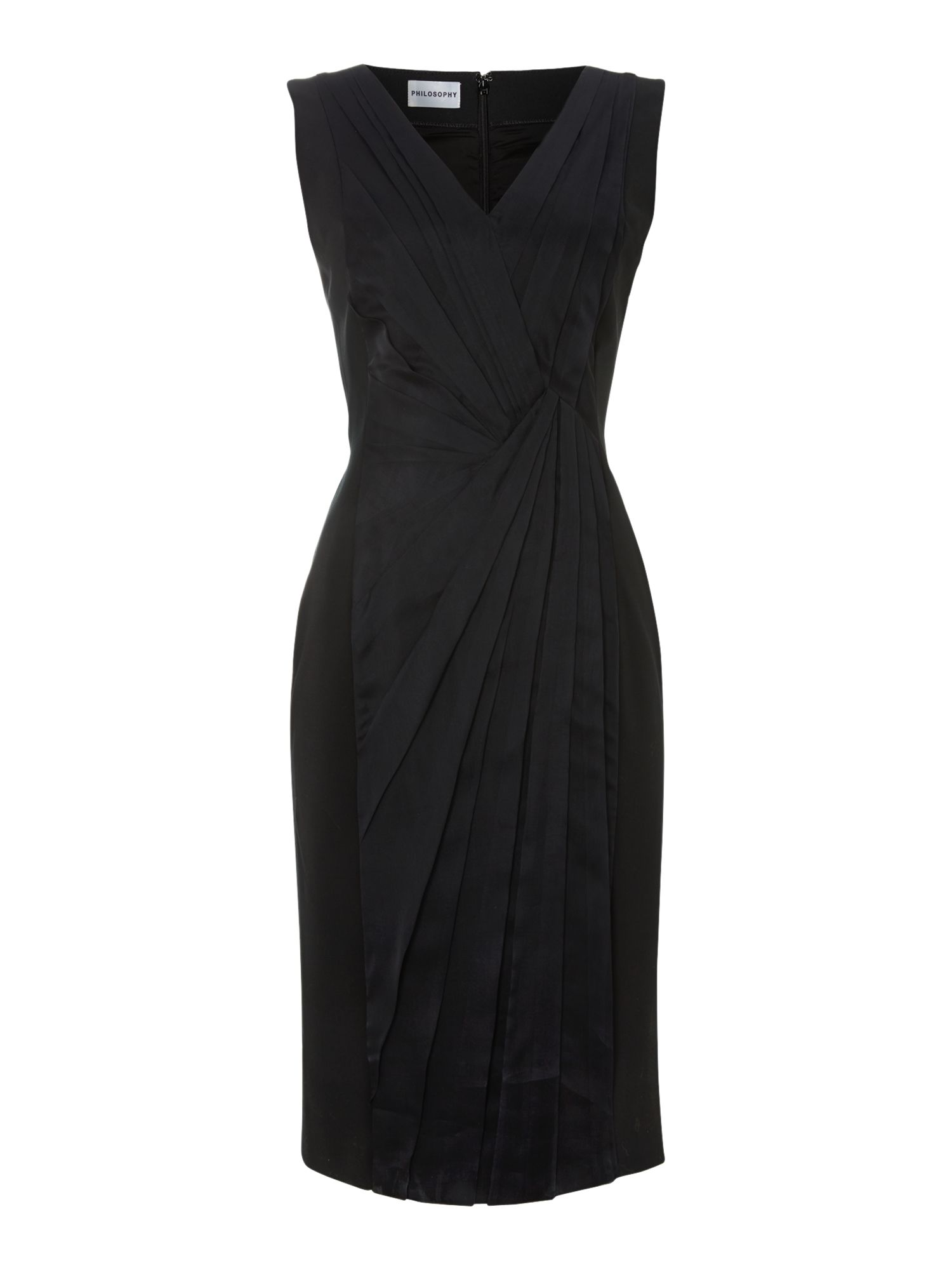 Sleeveless crepe fold panel dress