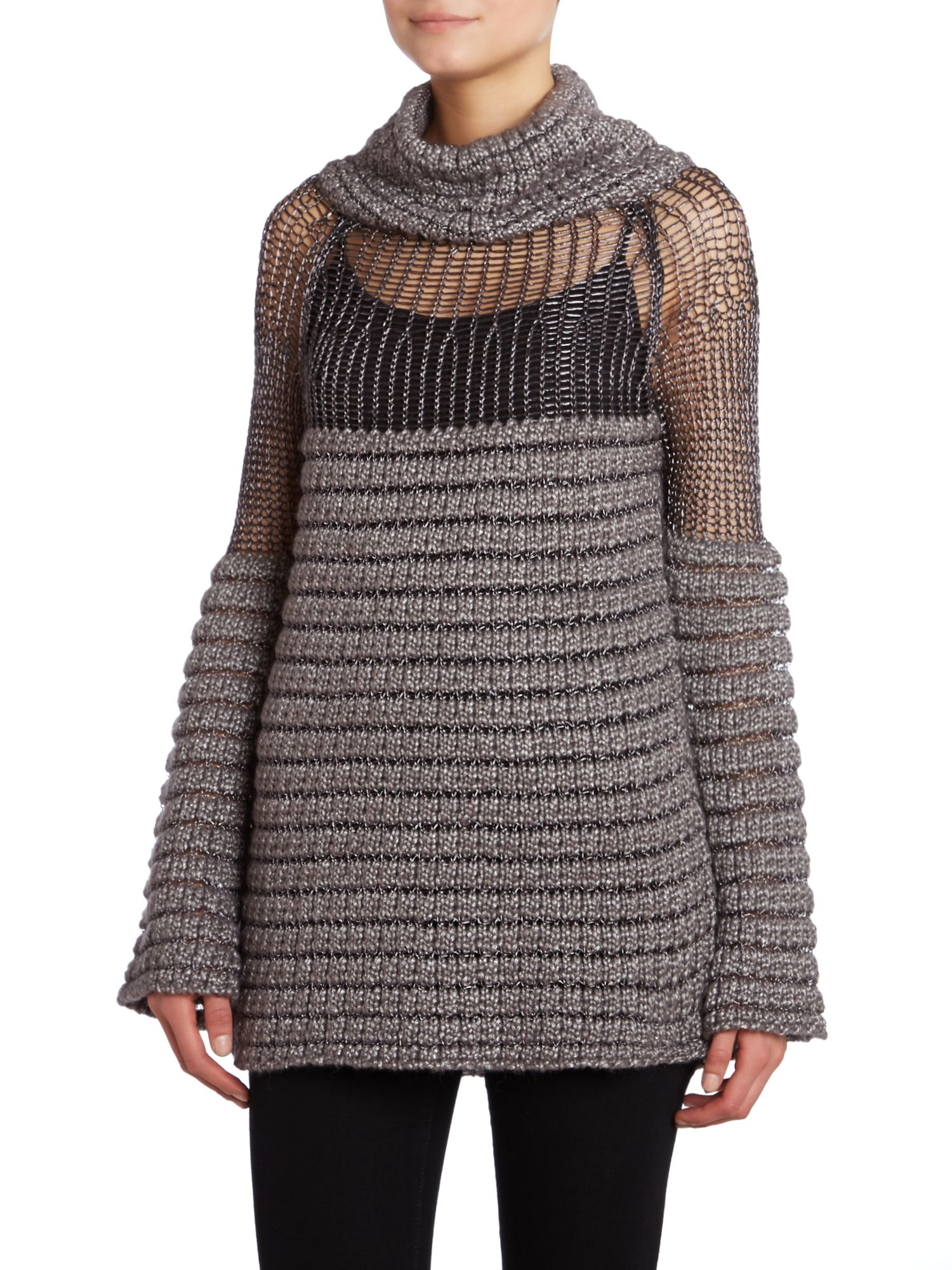 Ribbed roll neck jumper with mesh panel