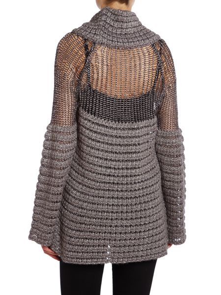 Philosophy Ribbed roll neck jumper with mesh panel