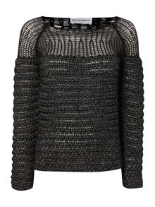 Ribbed jumper with mesh panel