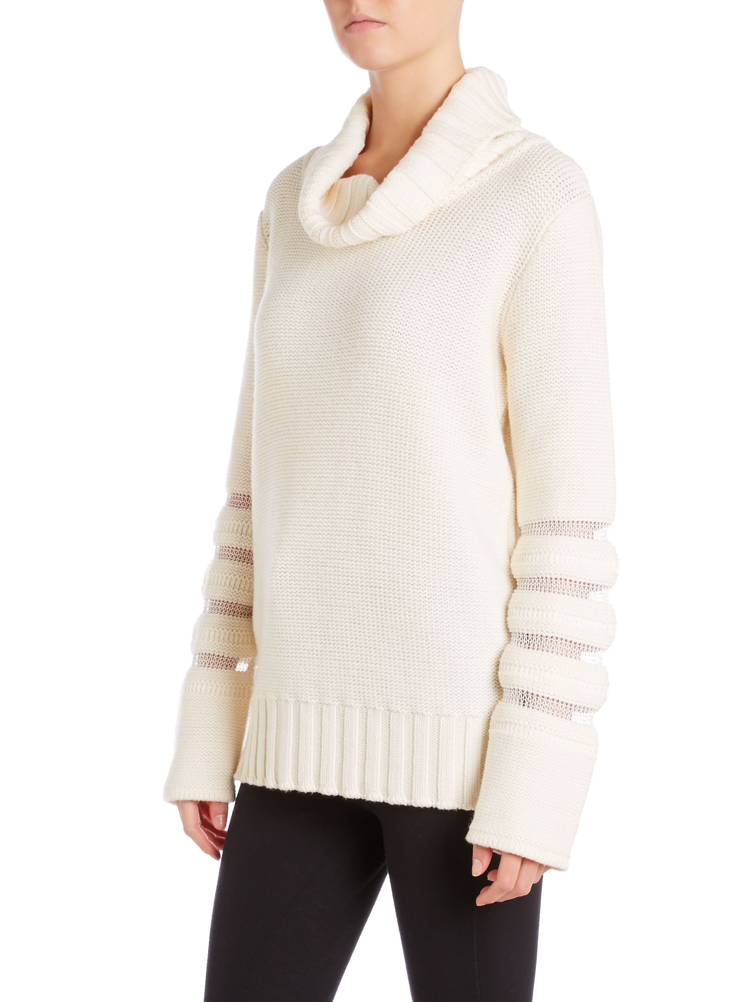 Roll neck jumper with mesh panel sleeves