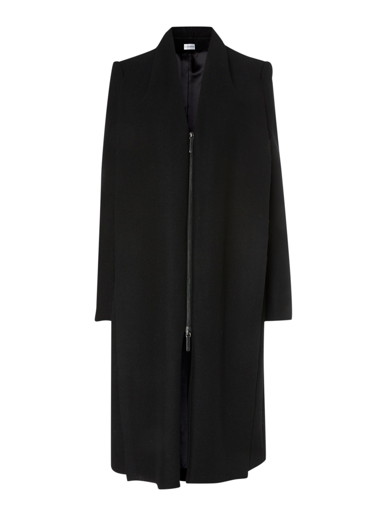 Long draped shawl zip front coat