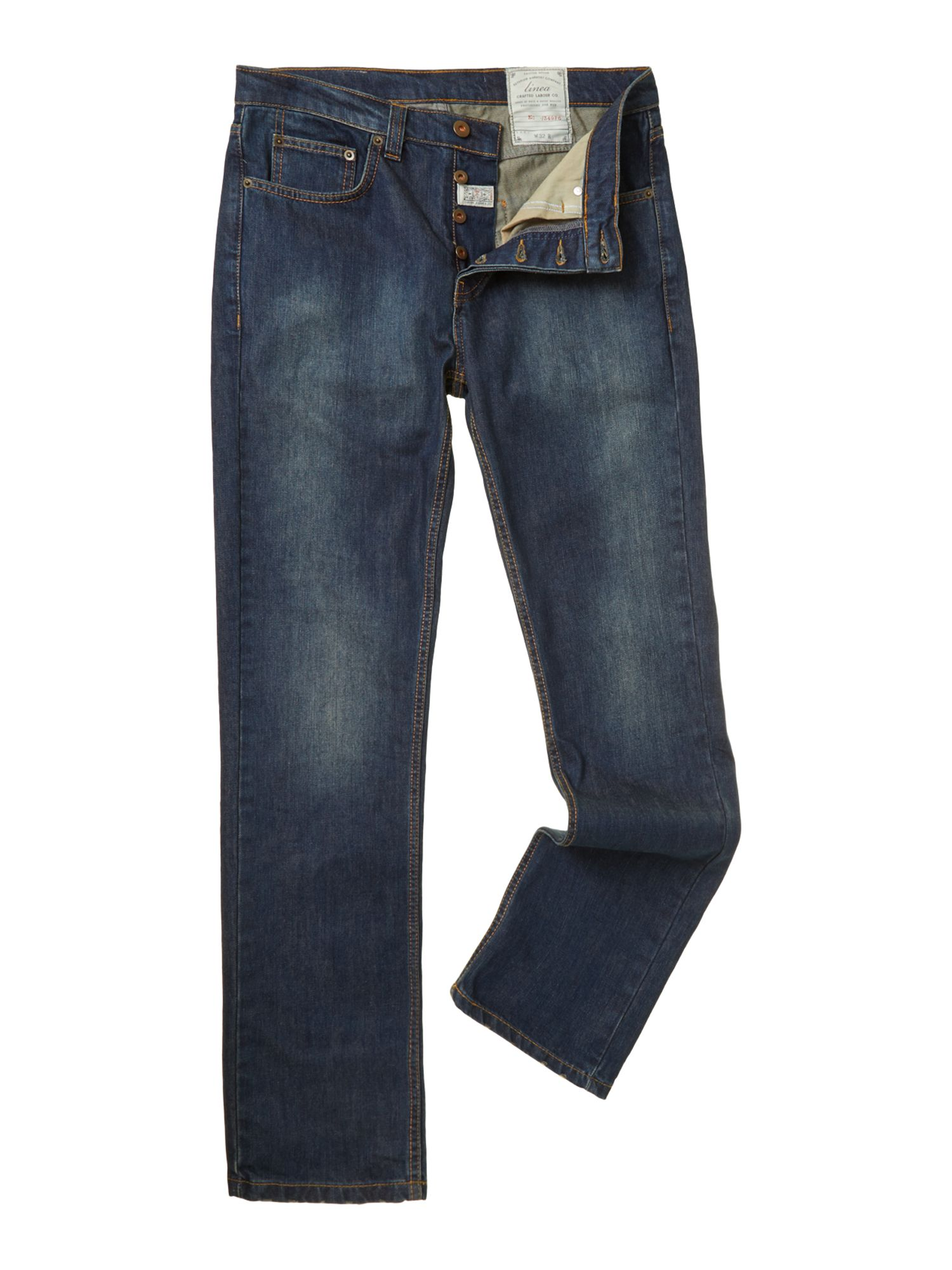 kew tailored mid wash jeans
