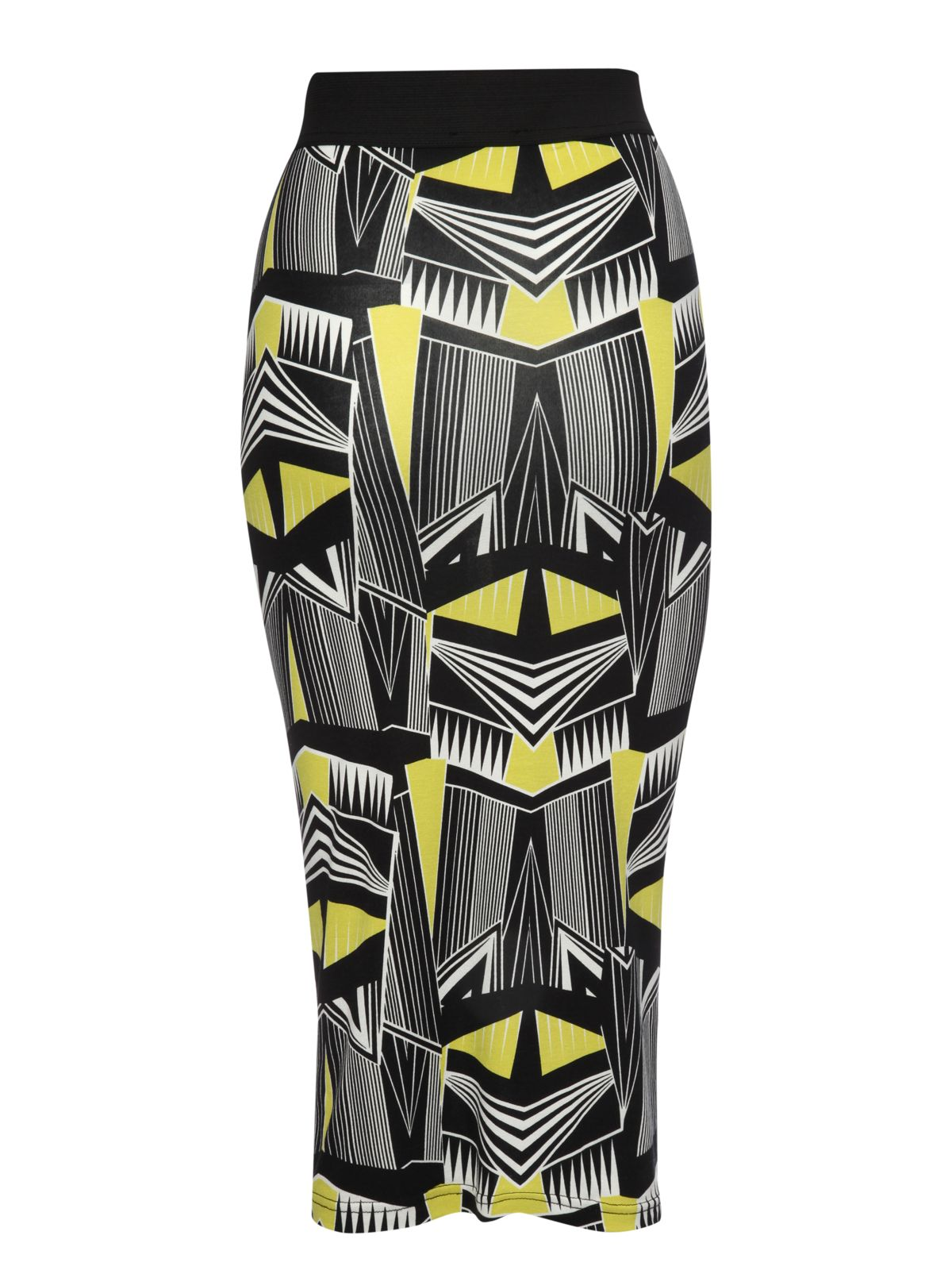 Geometric print pencil skirt