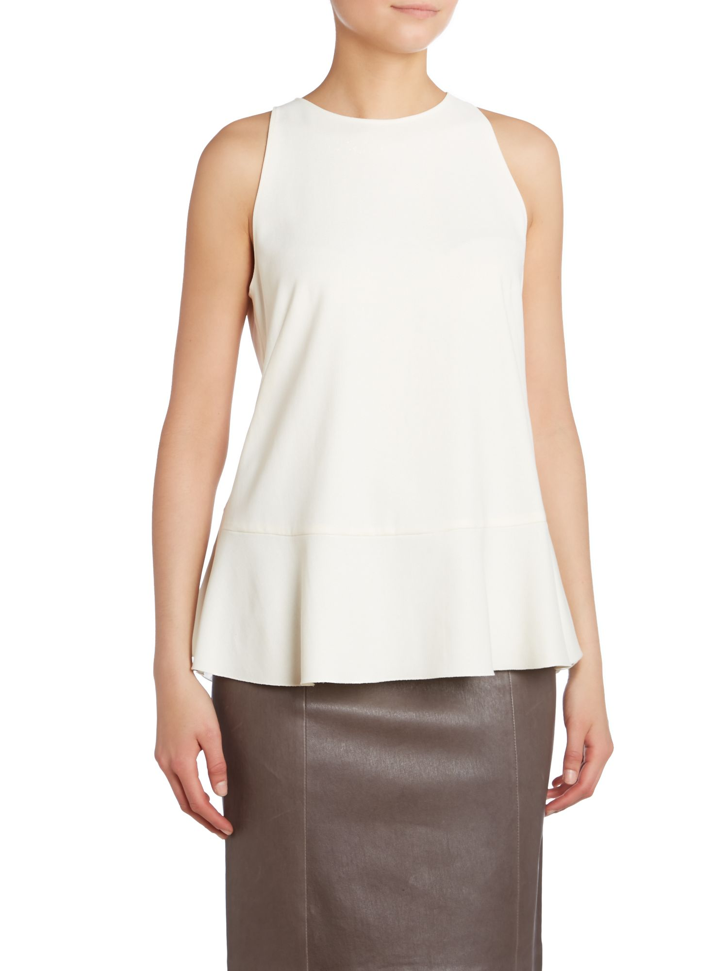 Sleeveless pleat back top