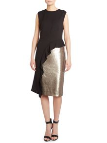 Sleeveless ruffle front sequin panel dress