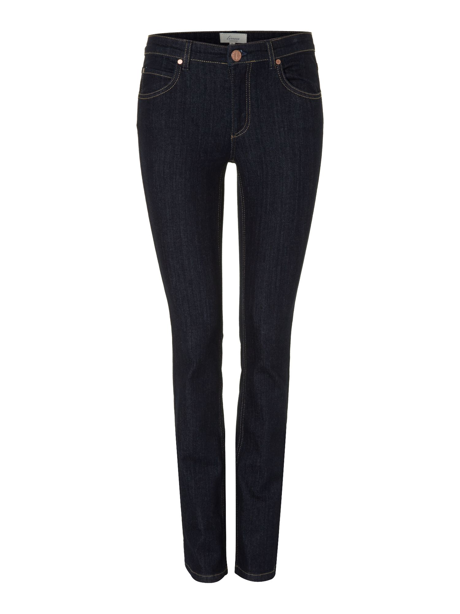 Ladies straight leg indigo wash jeans