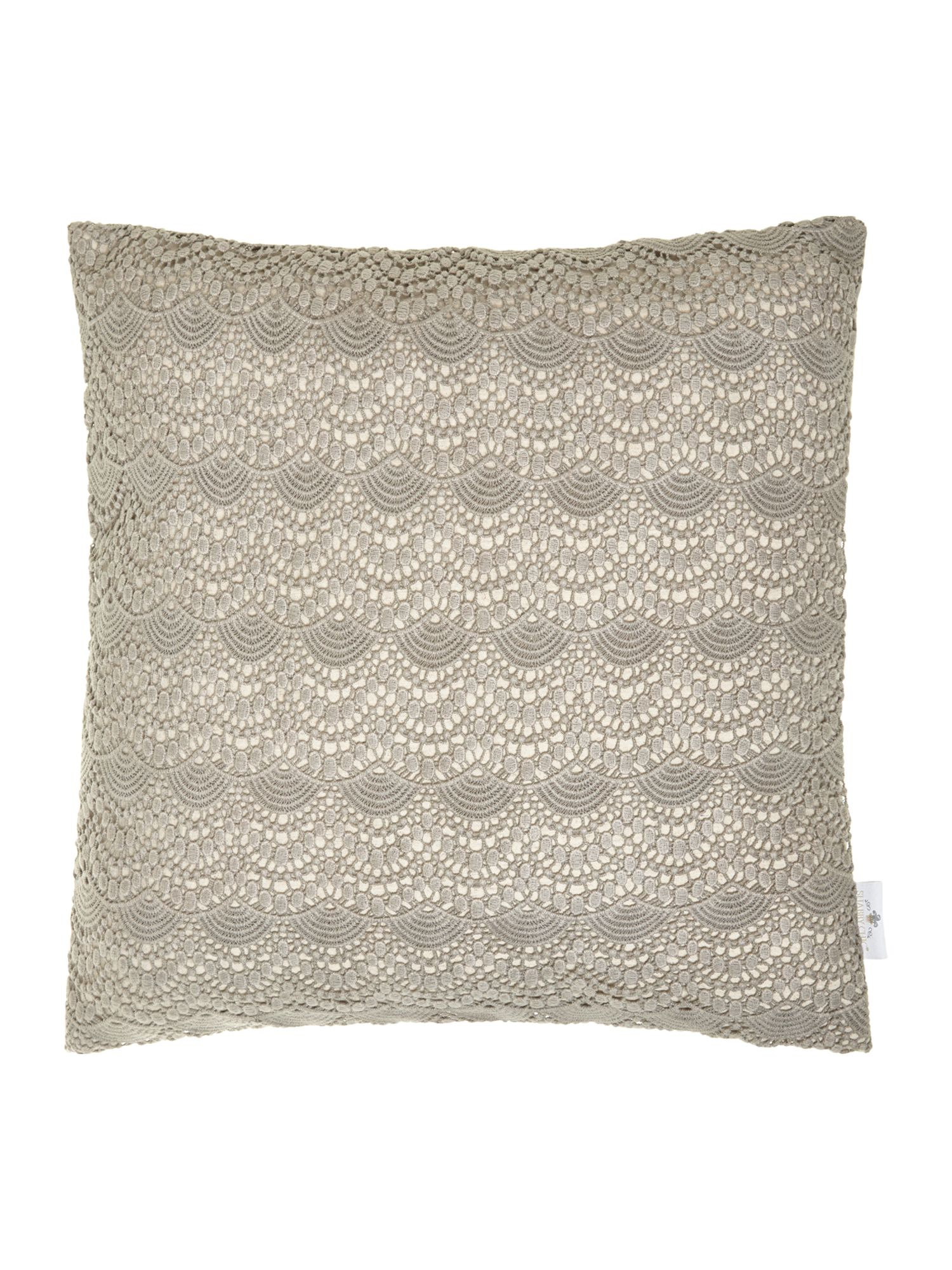 Crochet style cushion, grey