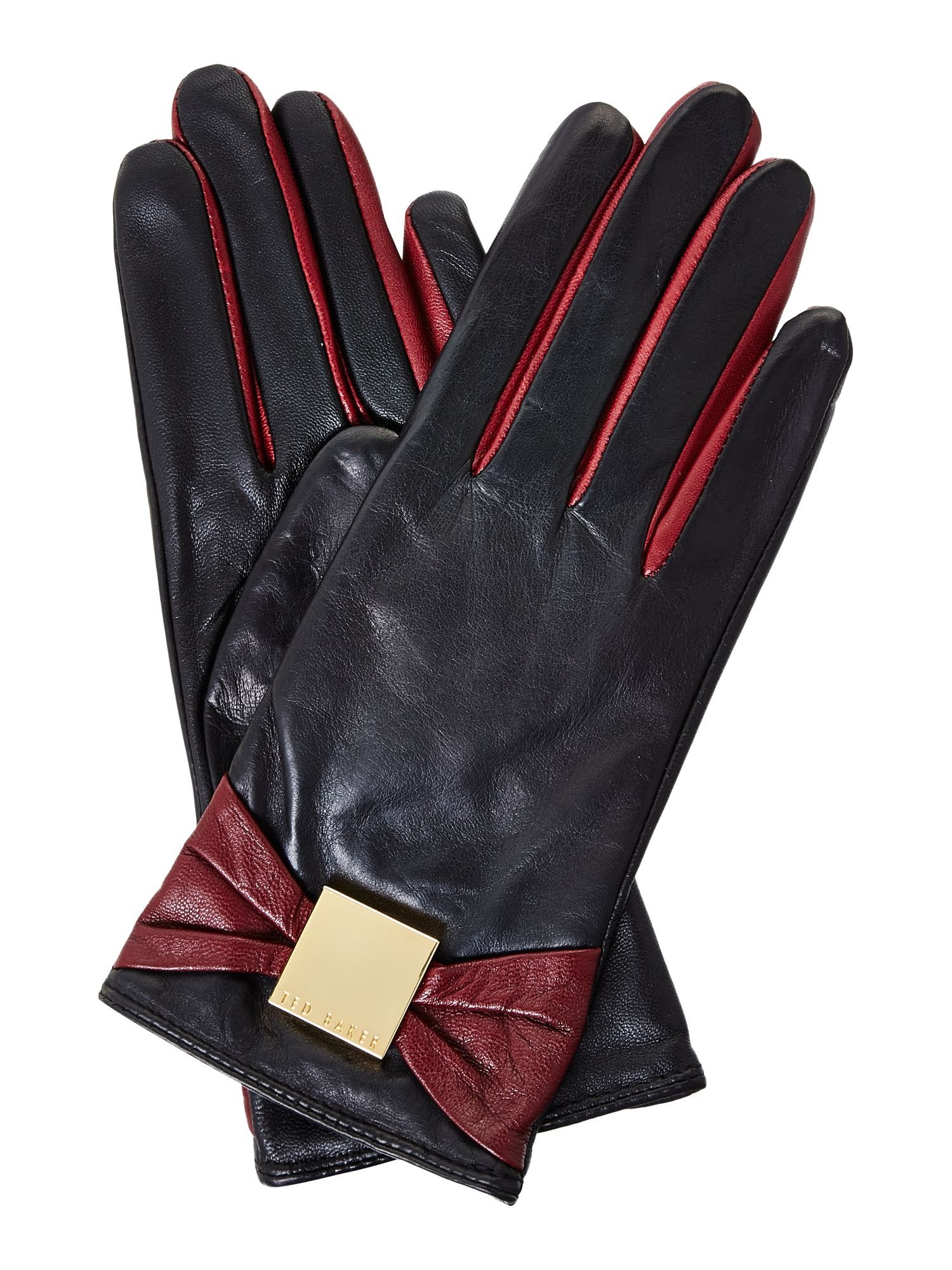 Bow leather touch screen gloves
