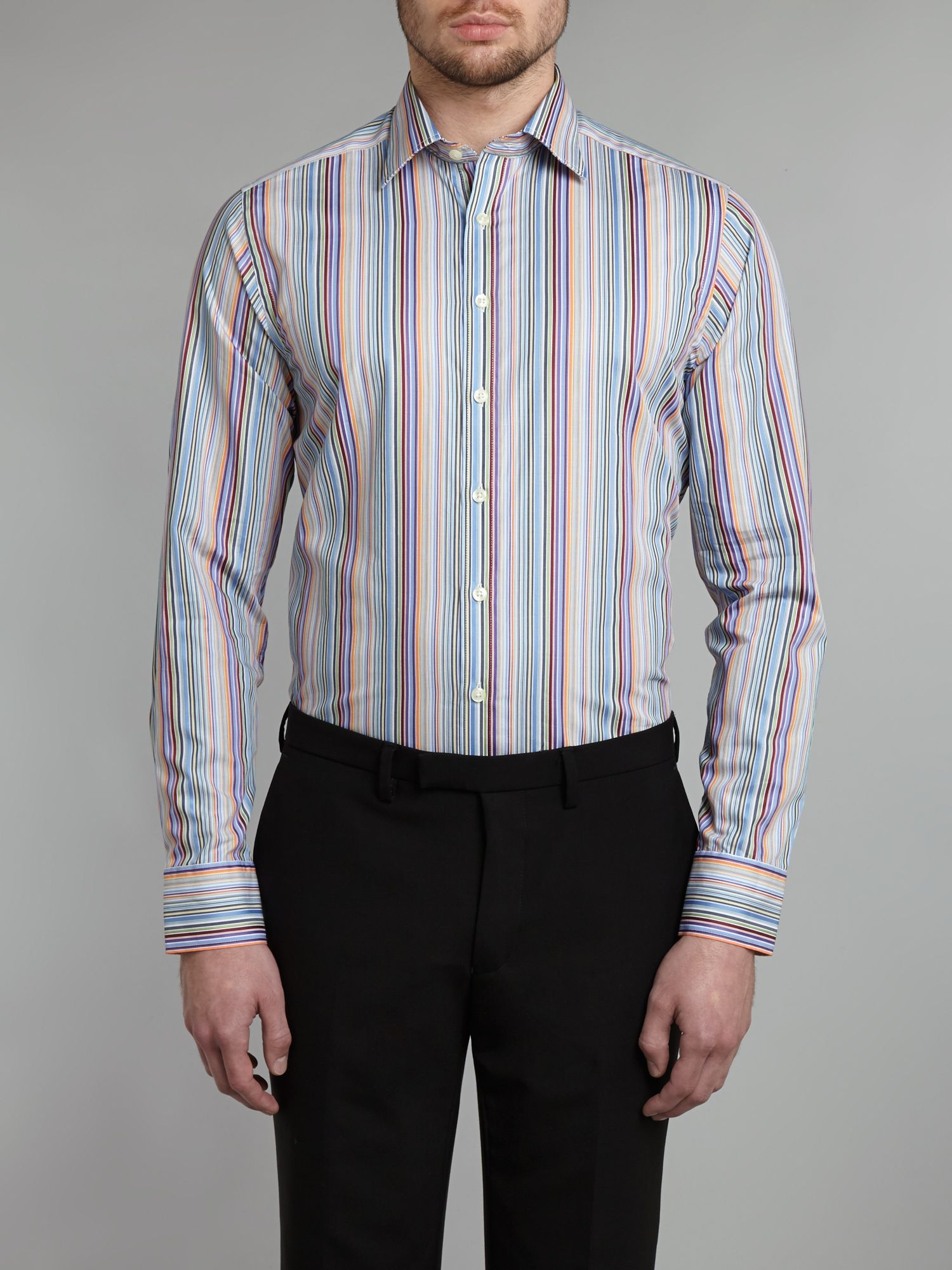 Multi stripe slim fit shirt