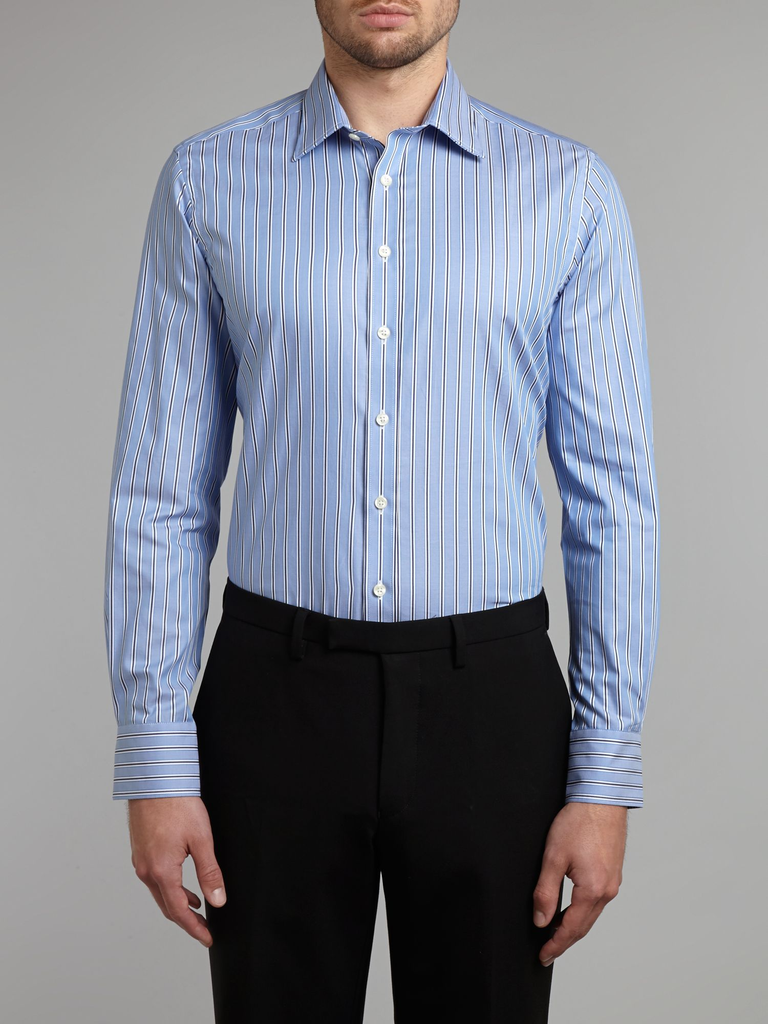 Oxford stripe slim fit shirt