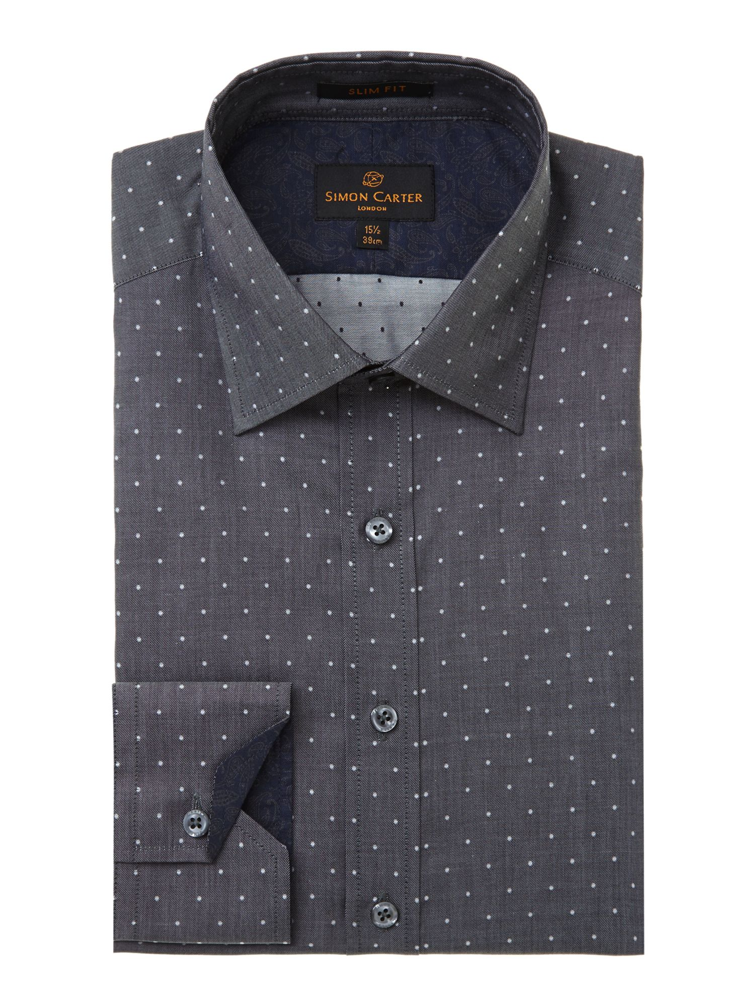 Chambray spot slim fit shirt