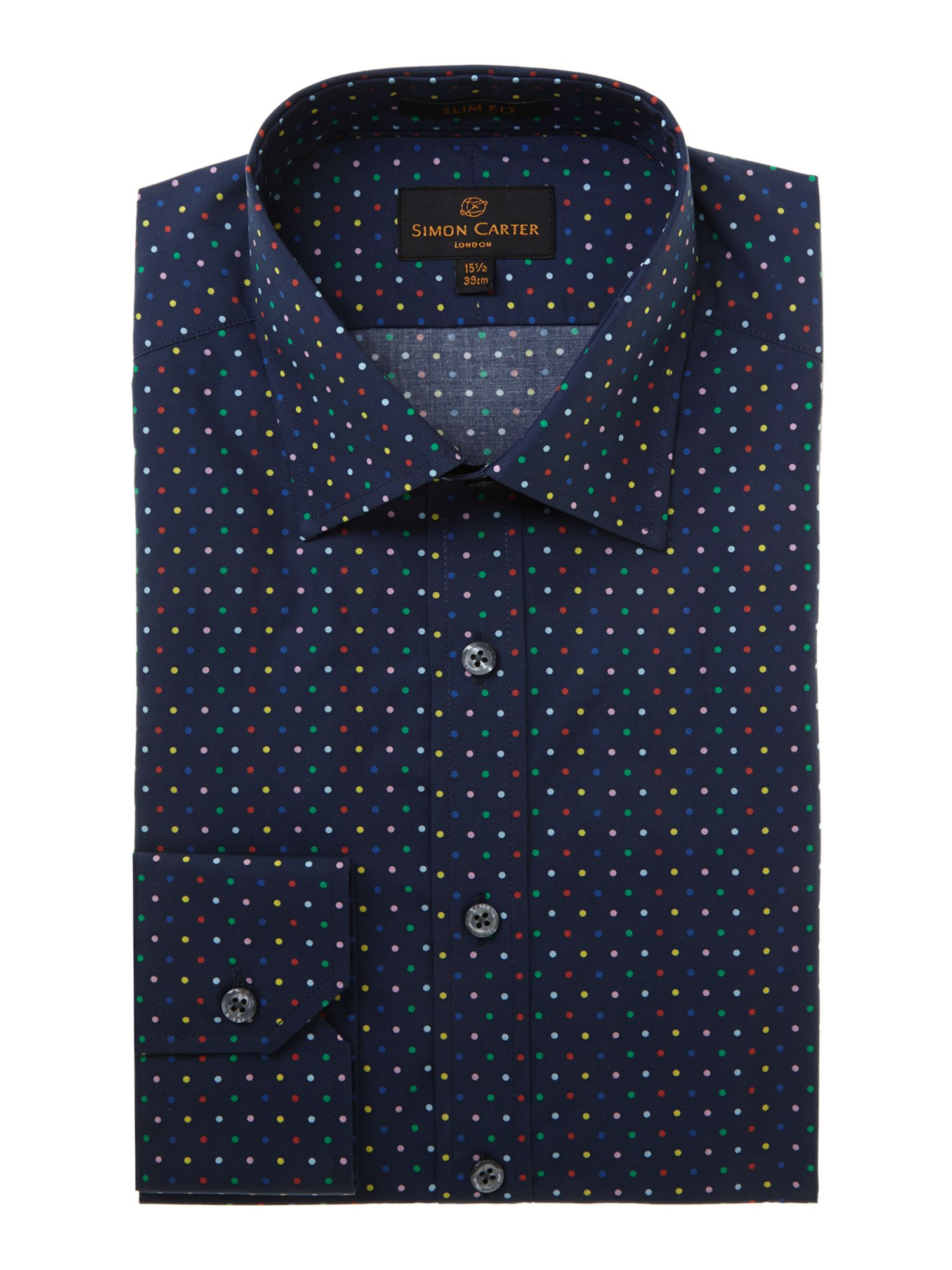 Multi coloured spot slim fit shirt