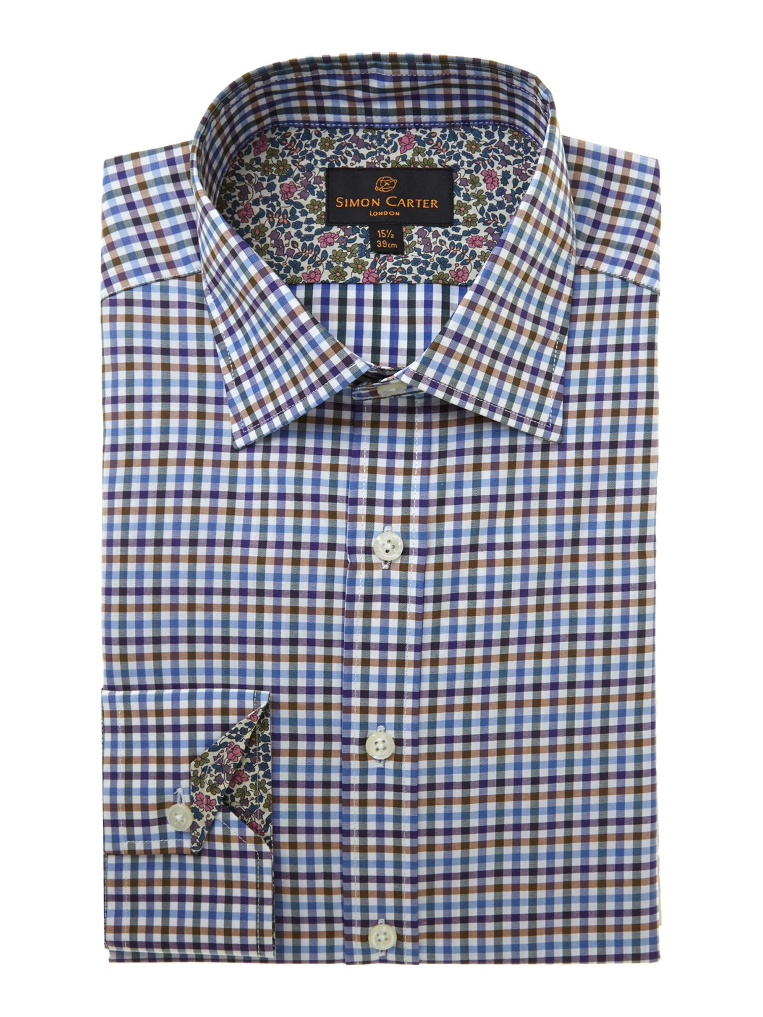 Gingham slim fit long sleeve shirt