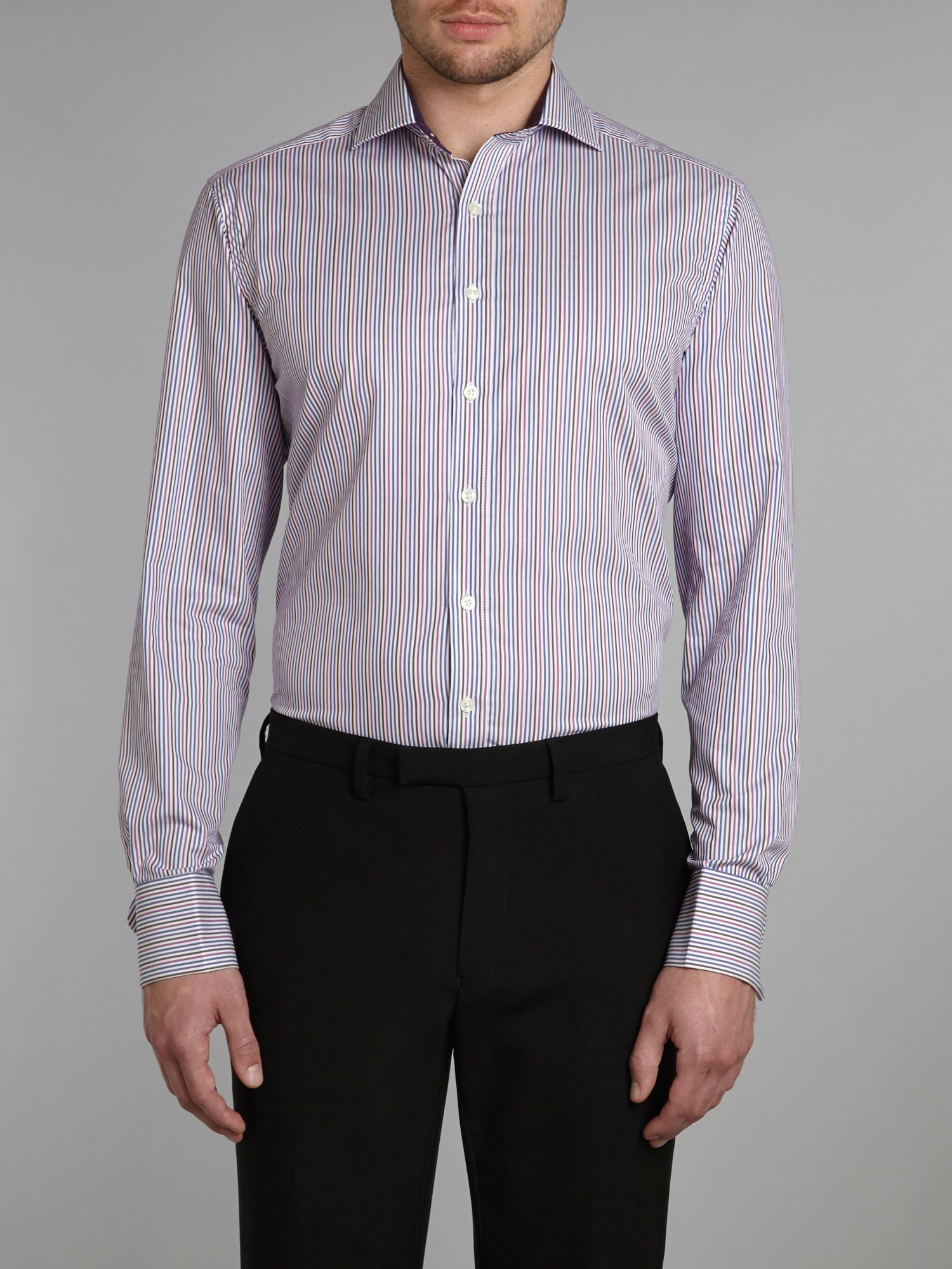 Multi stripe regular fit shirt w/double cuff