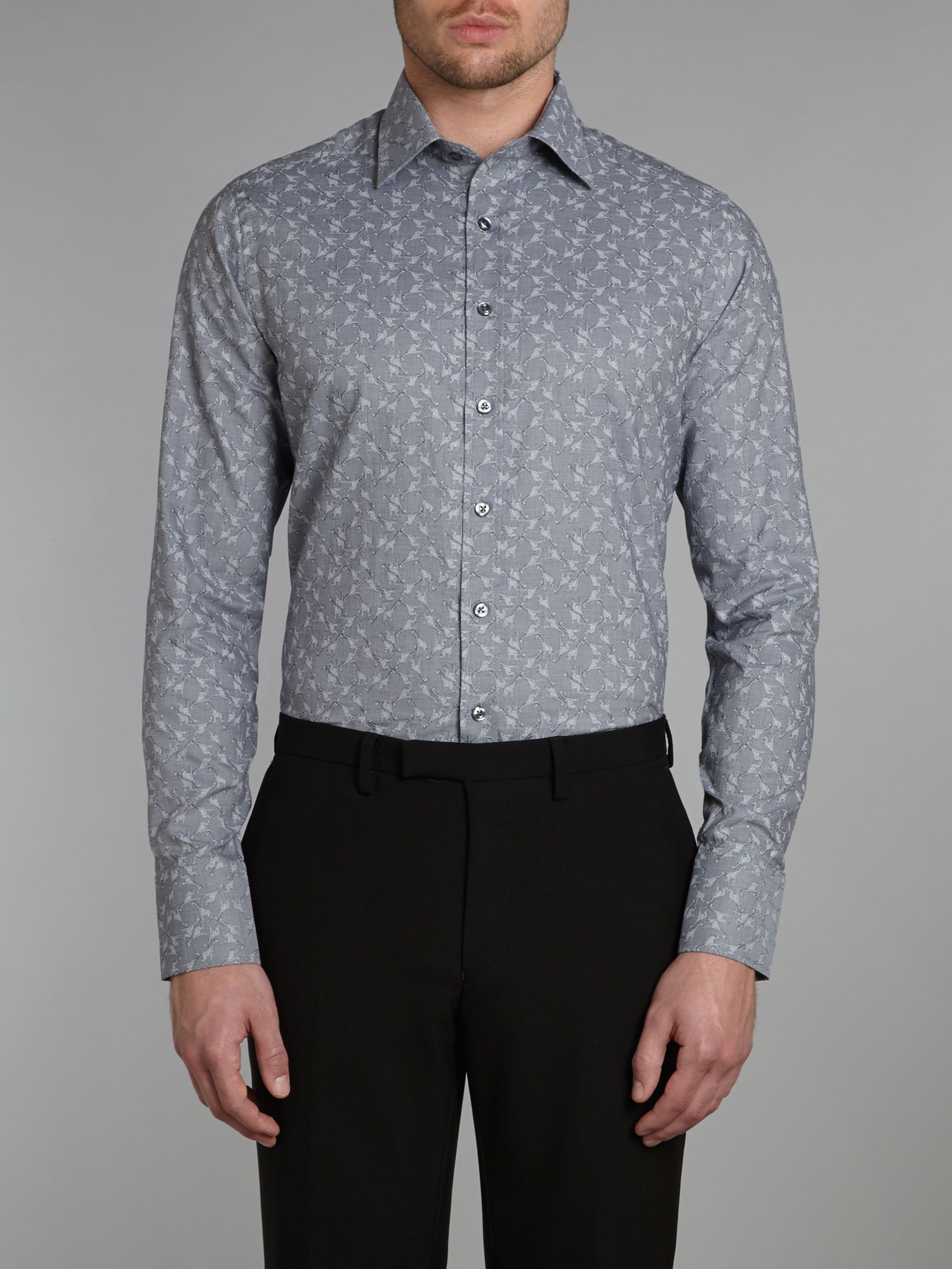 Giraffe jacquard slim fit shirt