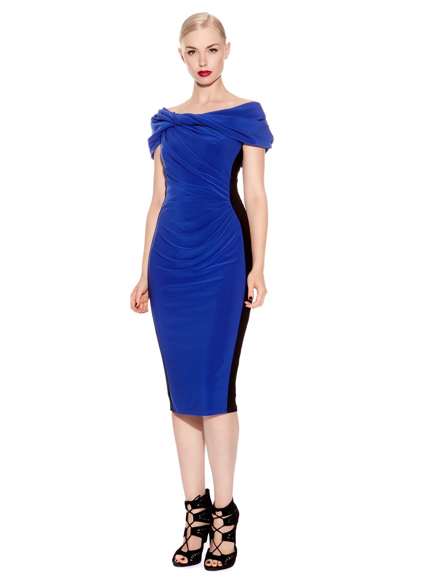 Block Colour Cap Sleeve Mid Length Bodycon Dress