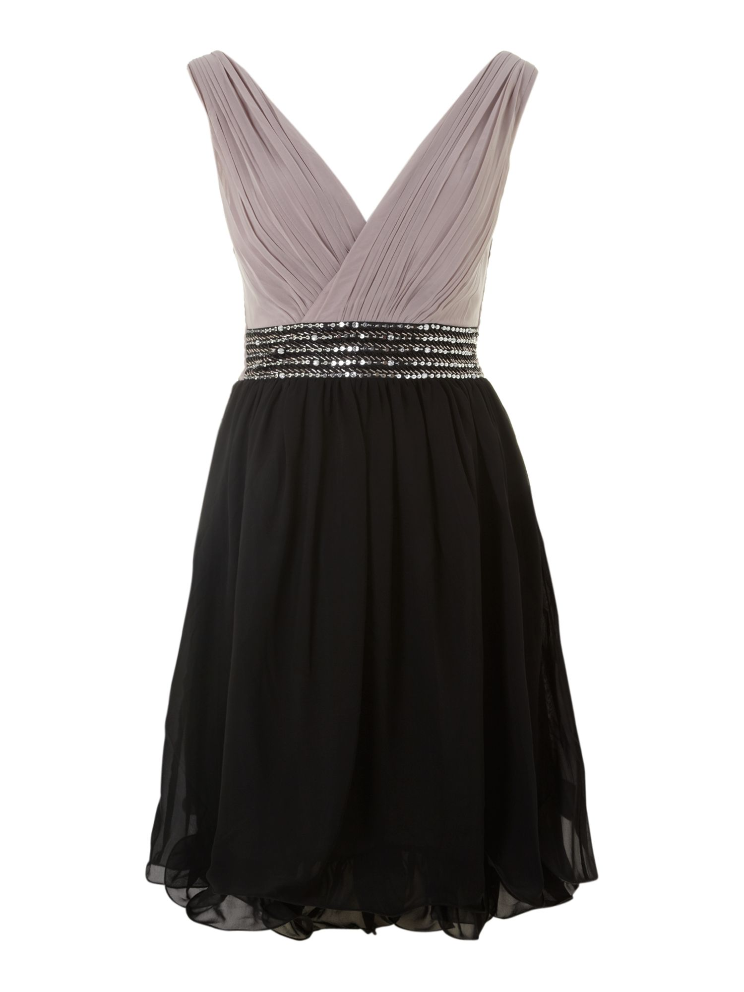Cross over embellished waist dress